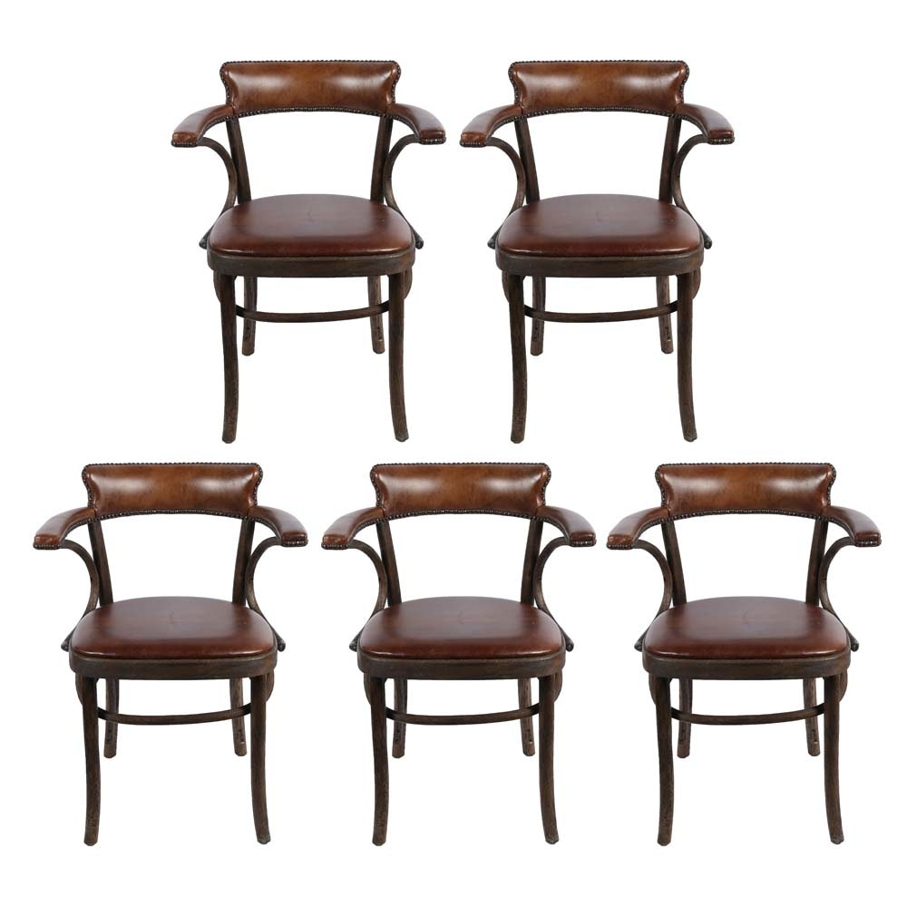 "Restoration Hardware ""Vienna Cafe"" Leather Arm Chairs"