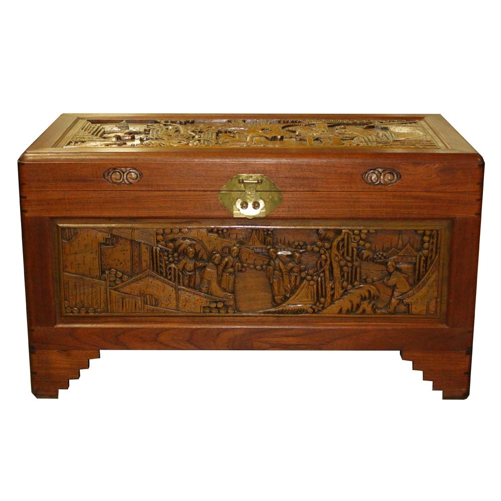 Chinese Carved Cedar Chest