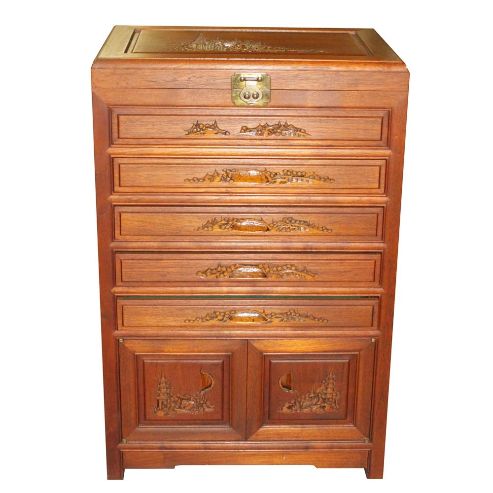 Carved Chinese Flatware Storage Cabinet