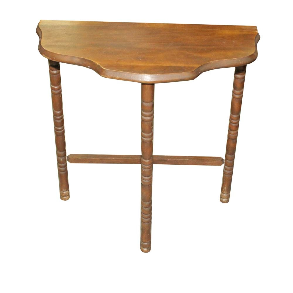 Wooden Demilune Accent Table