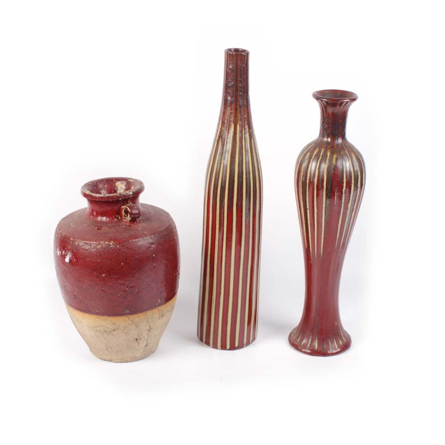 Set Of Three Contemporary Vases Ebth
