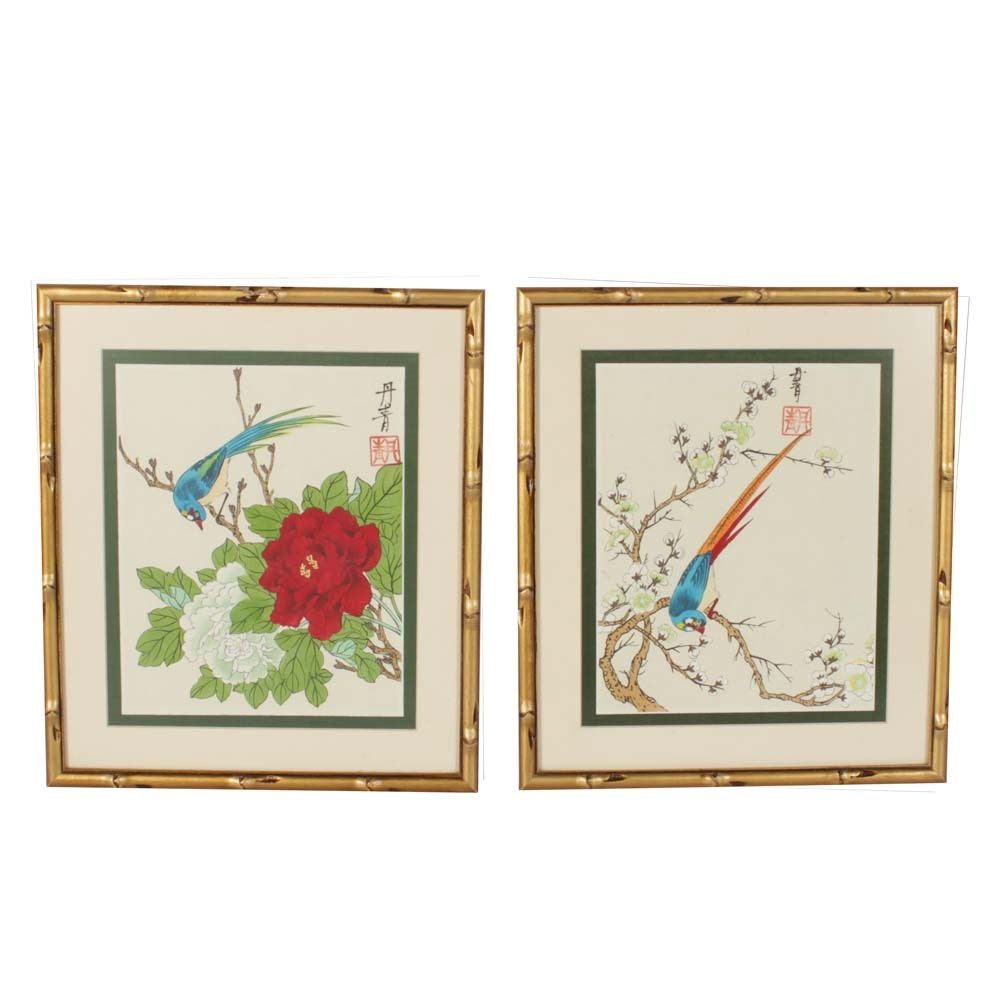 Pair of Framed Chinese Gouache Paintings on Silk