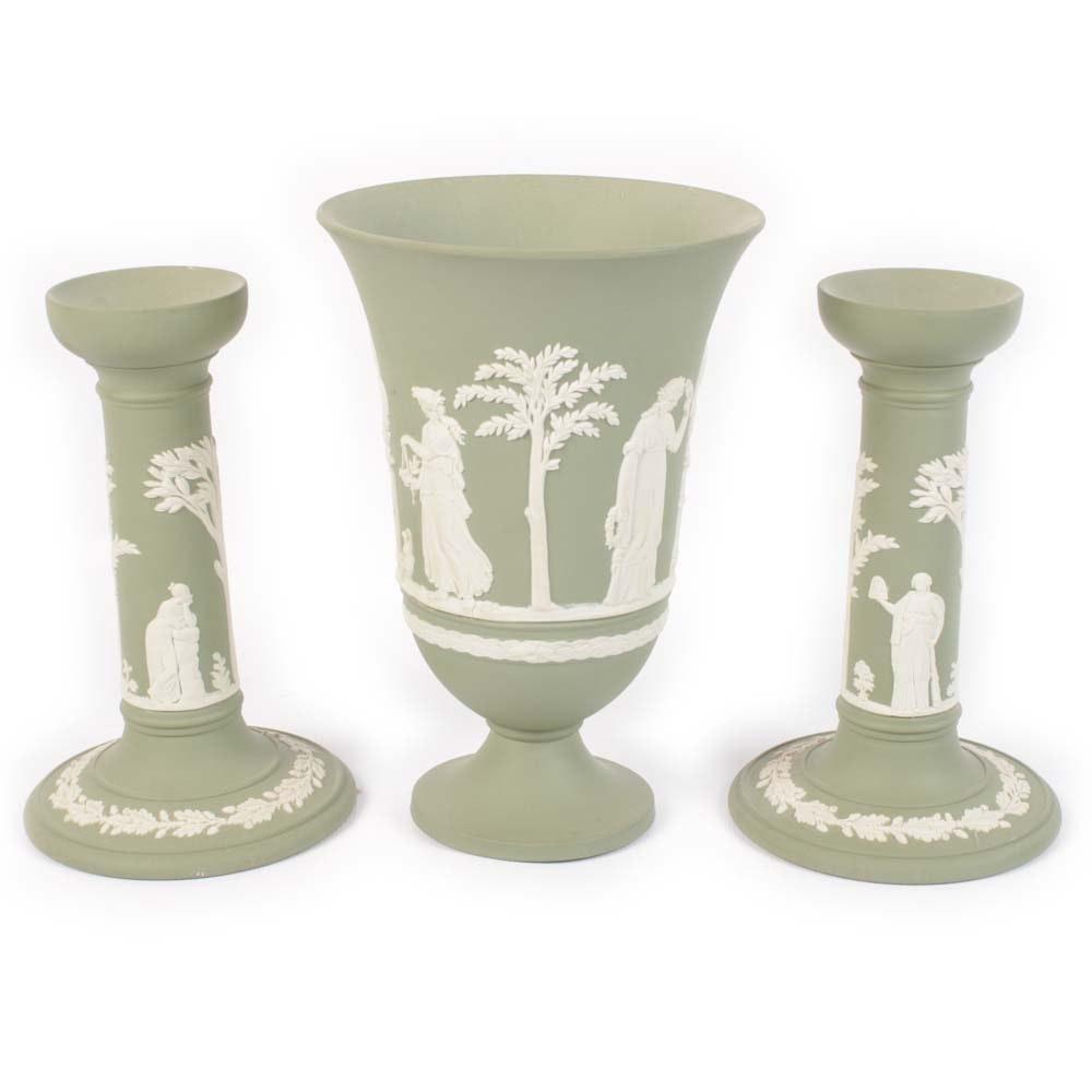 Vintage Wedgwood Green Jasperware Vase and Candleholders