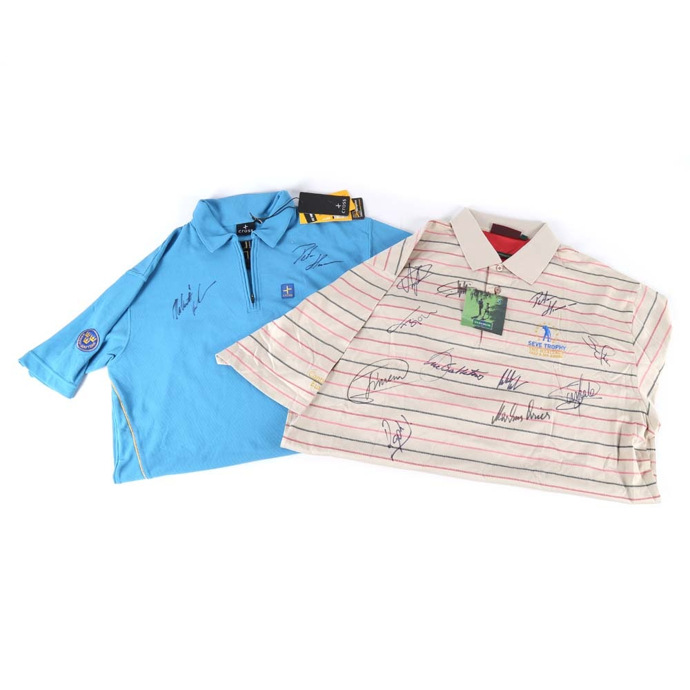 Autographed World Cup and Seve Trophy Golf Polo Shirts