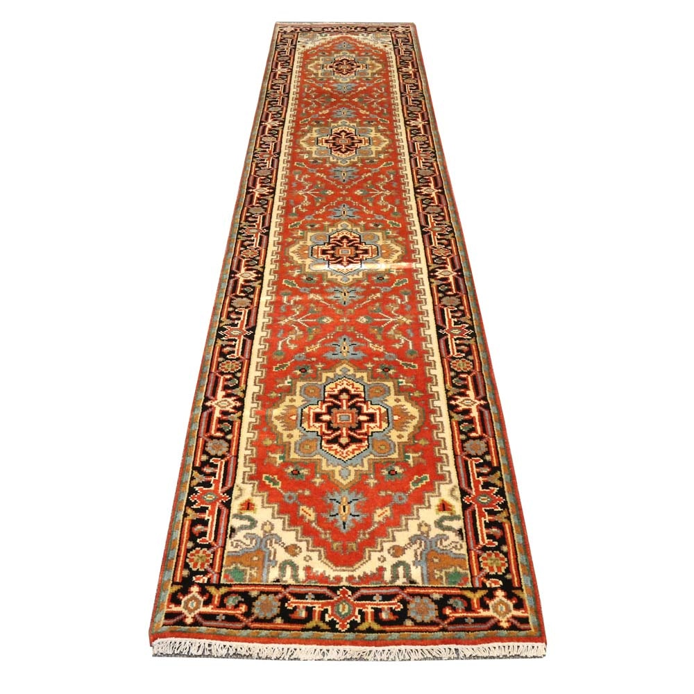 Hand-Knotted Indo-Persian Heriz  Wool Runner Rug