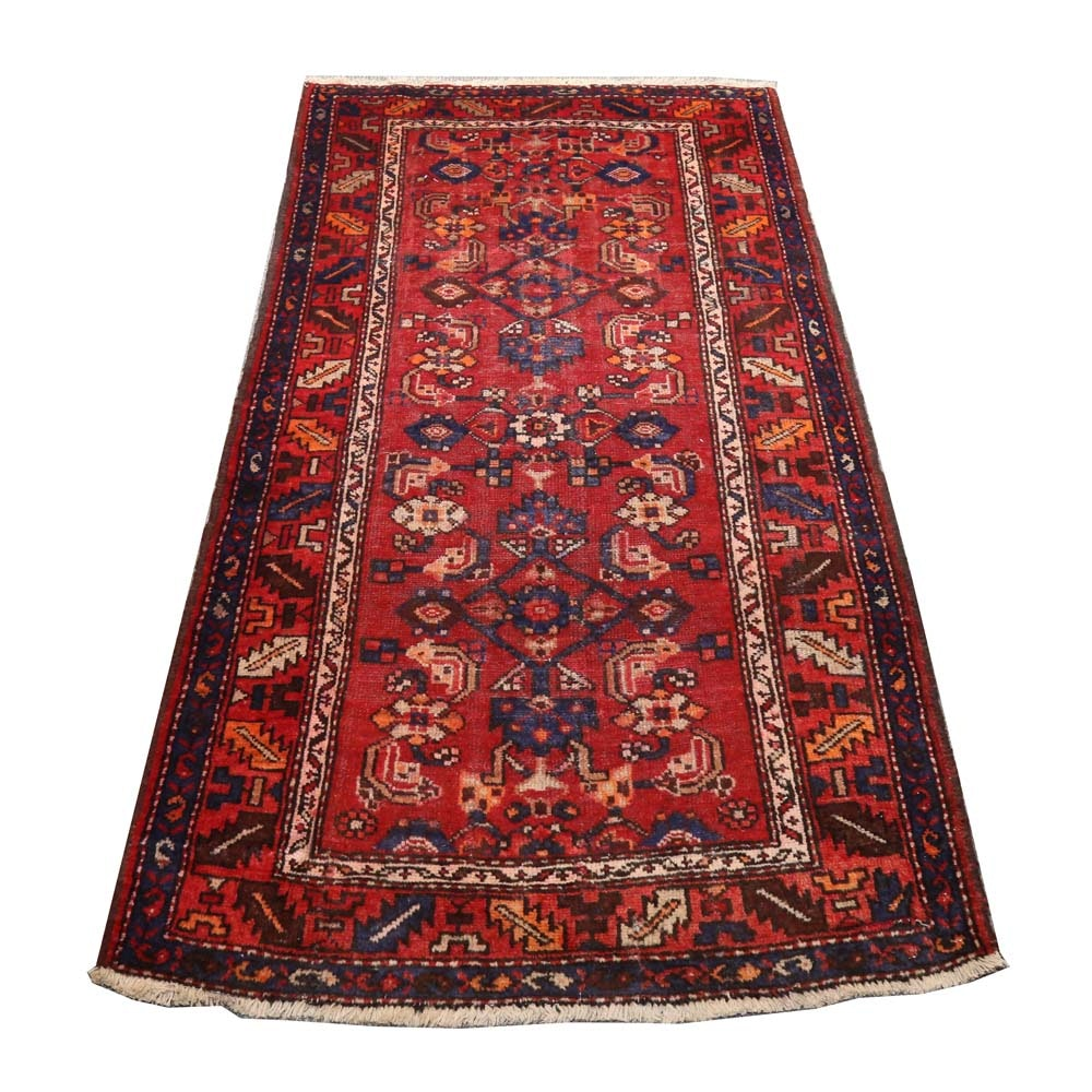 Vintage Hand-Knotted Persian Viss Heriz Wool Accent Rug