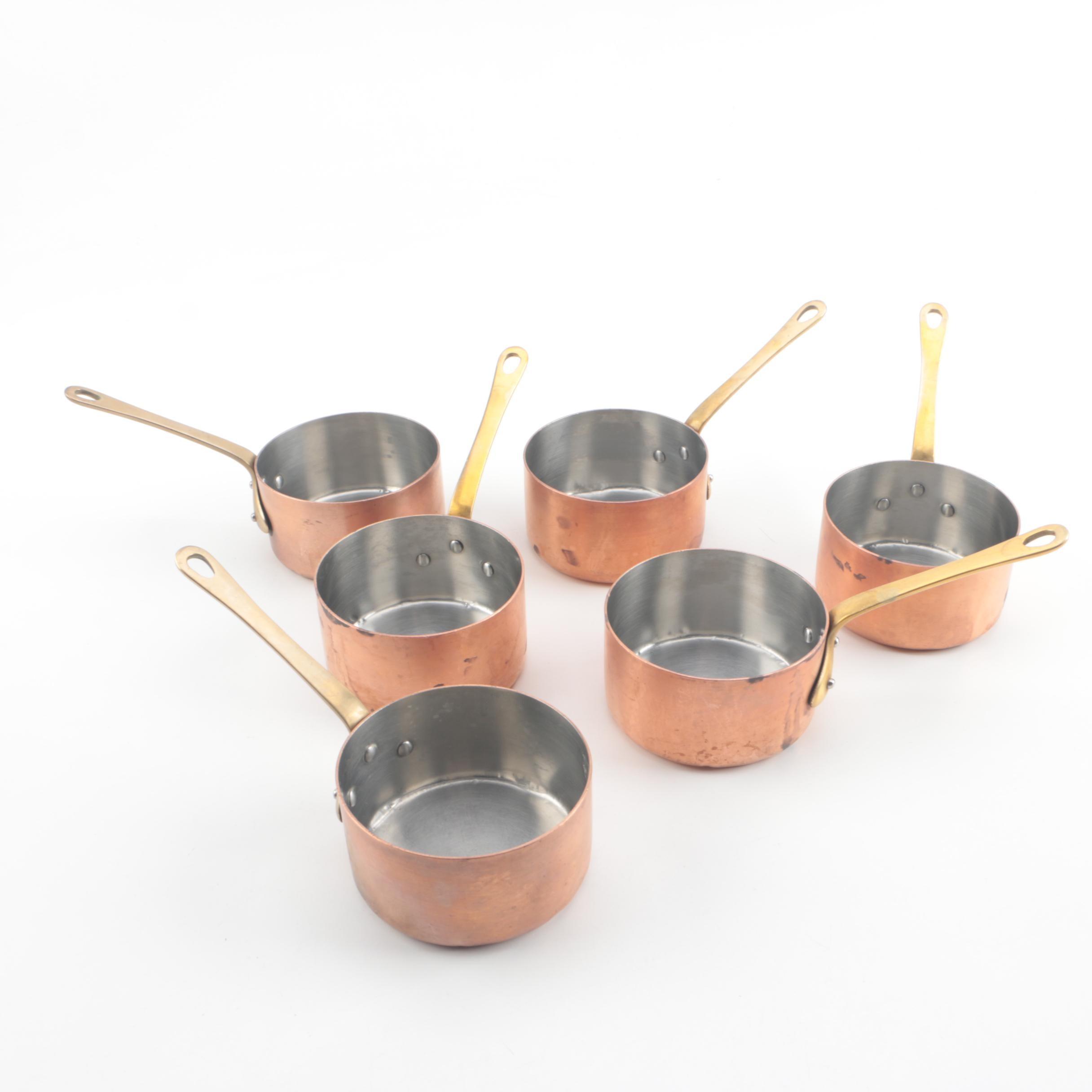 Vintage Copper Butter Pans with Brass Handles