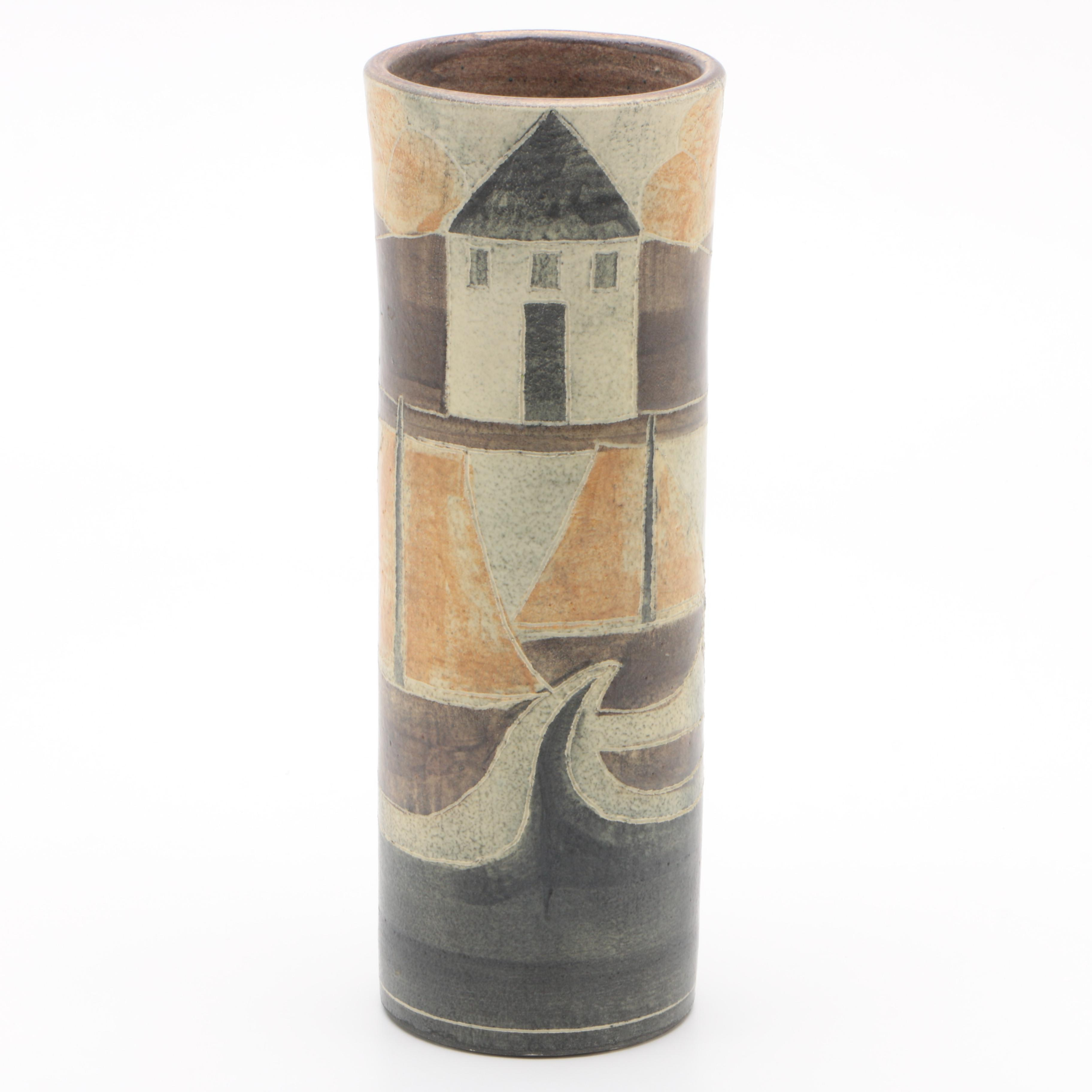 Theo and Susan Harlander Mid-Century Hand-Painted Pottery Vase