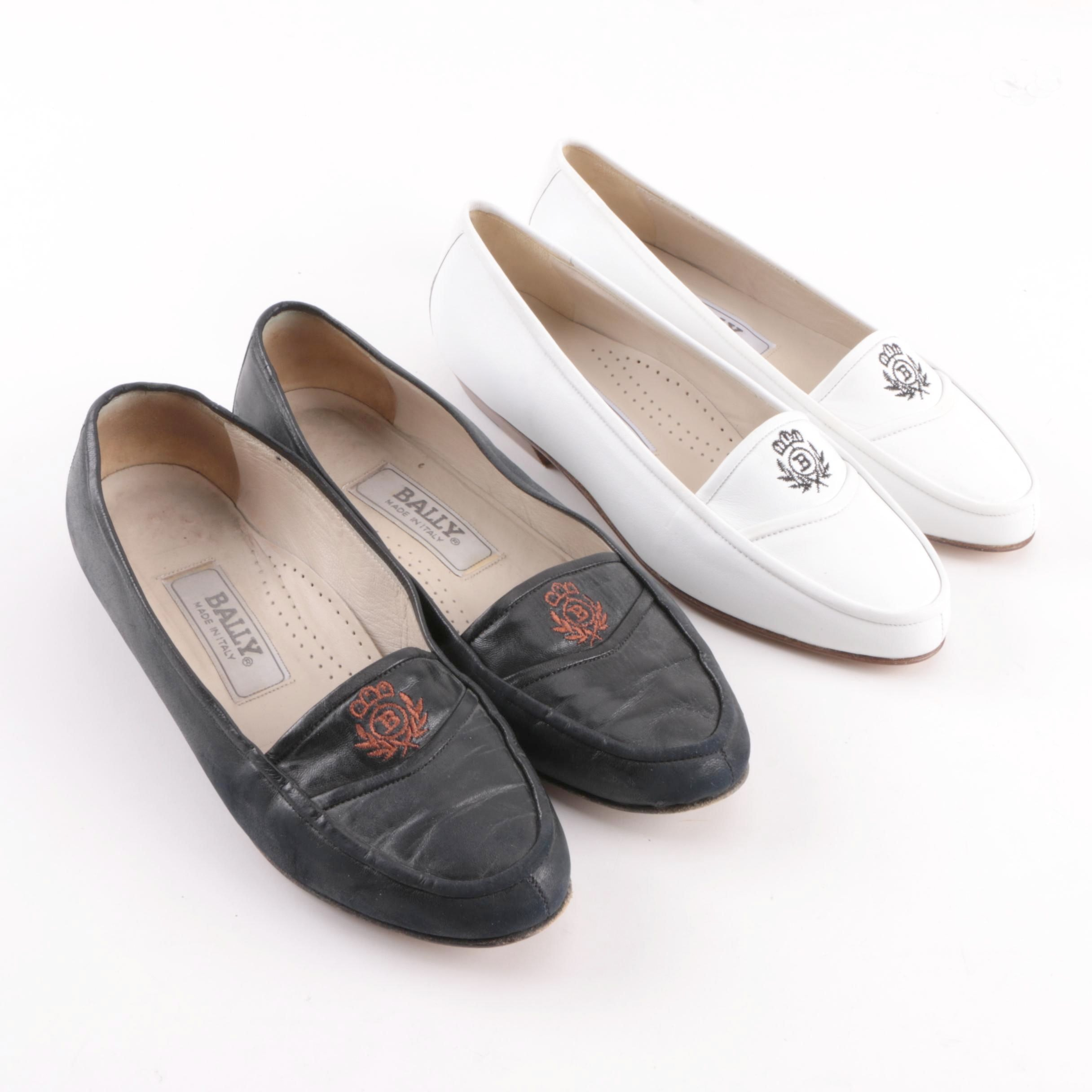 Women's Vintage Bally Leather Loafers with Embroidered Logo