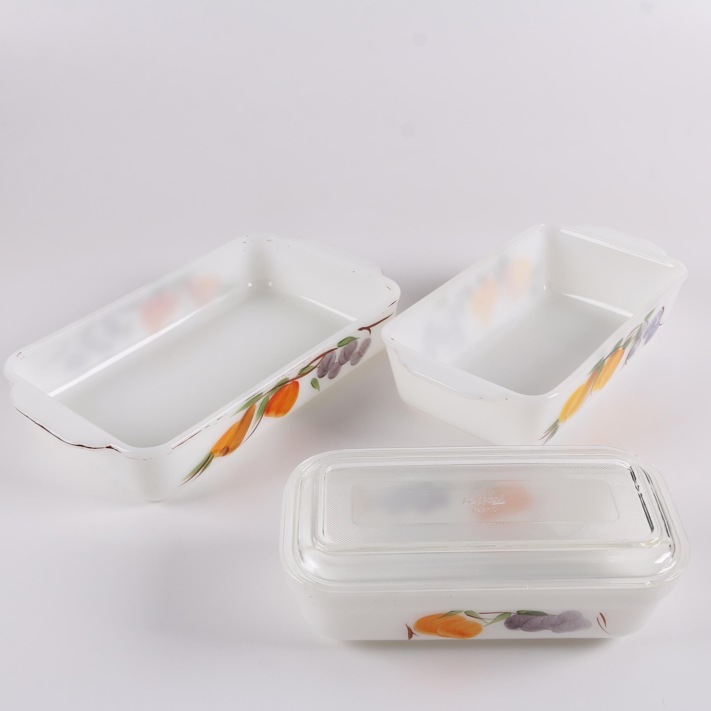 """Fire-King Gay Fad """"Fruits"""" Hand-Painted Casserole and Refrigerator Dishes"""