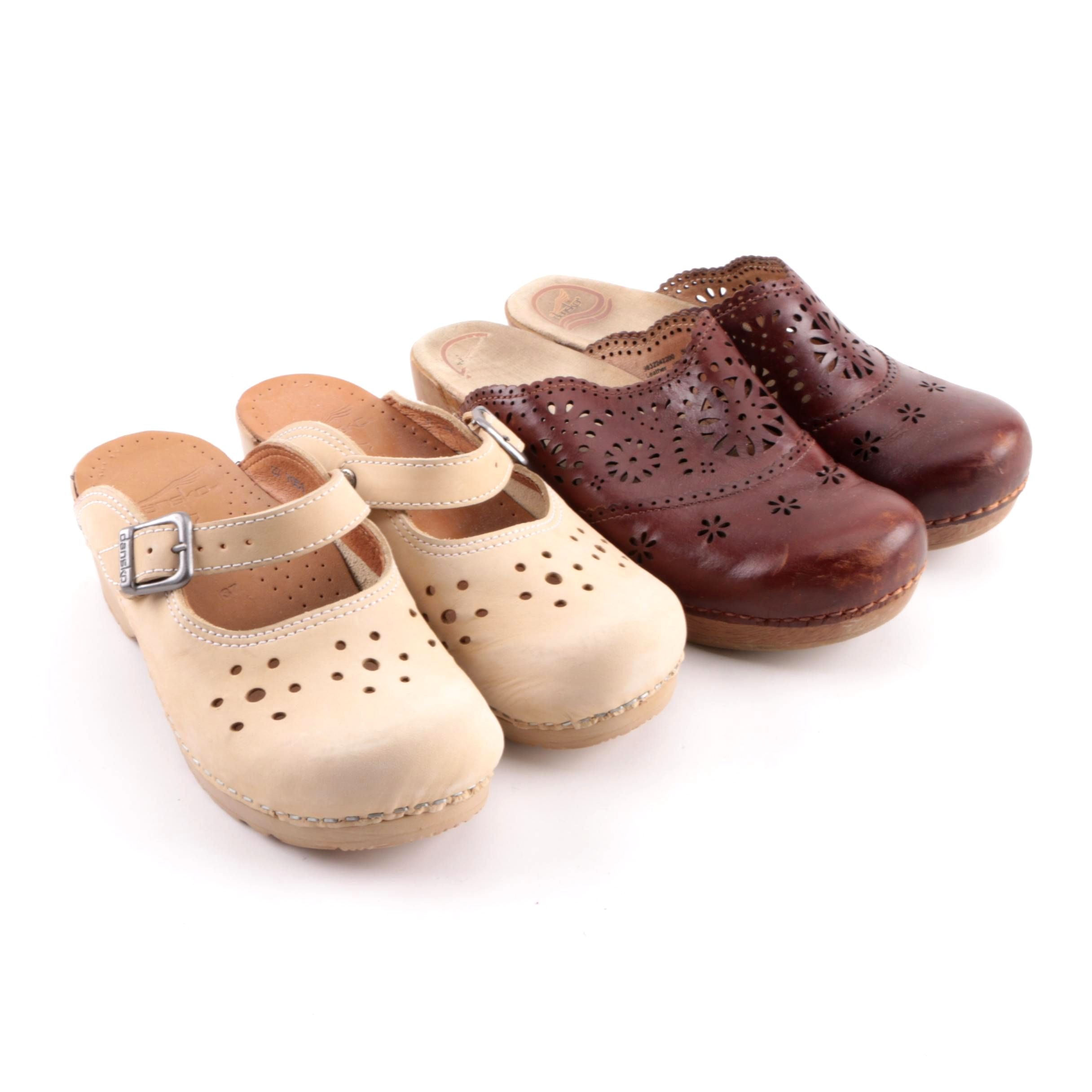 Women's Dansko Suede and Leather Clogs with Pierced Details