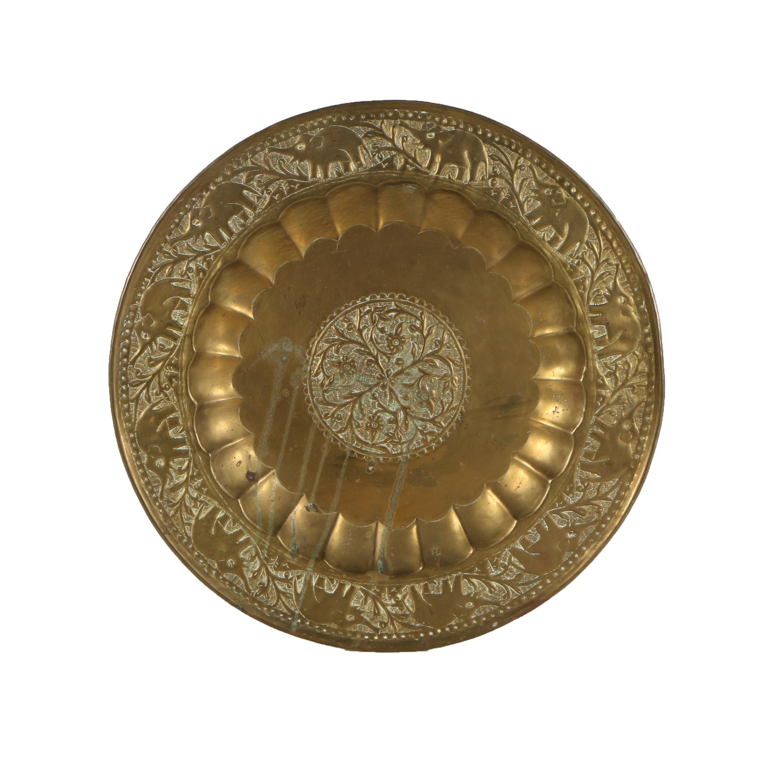 Vintage Indian Etched Brass Serving Tray