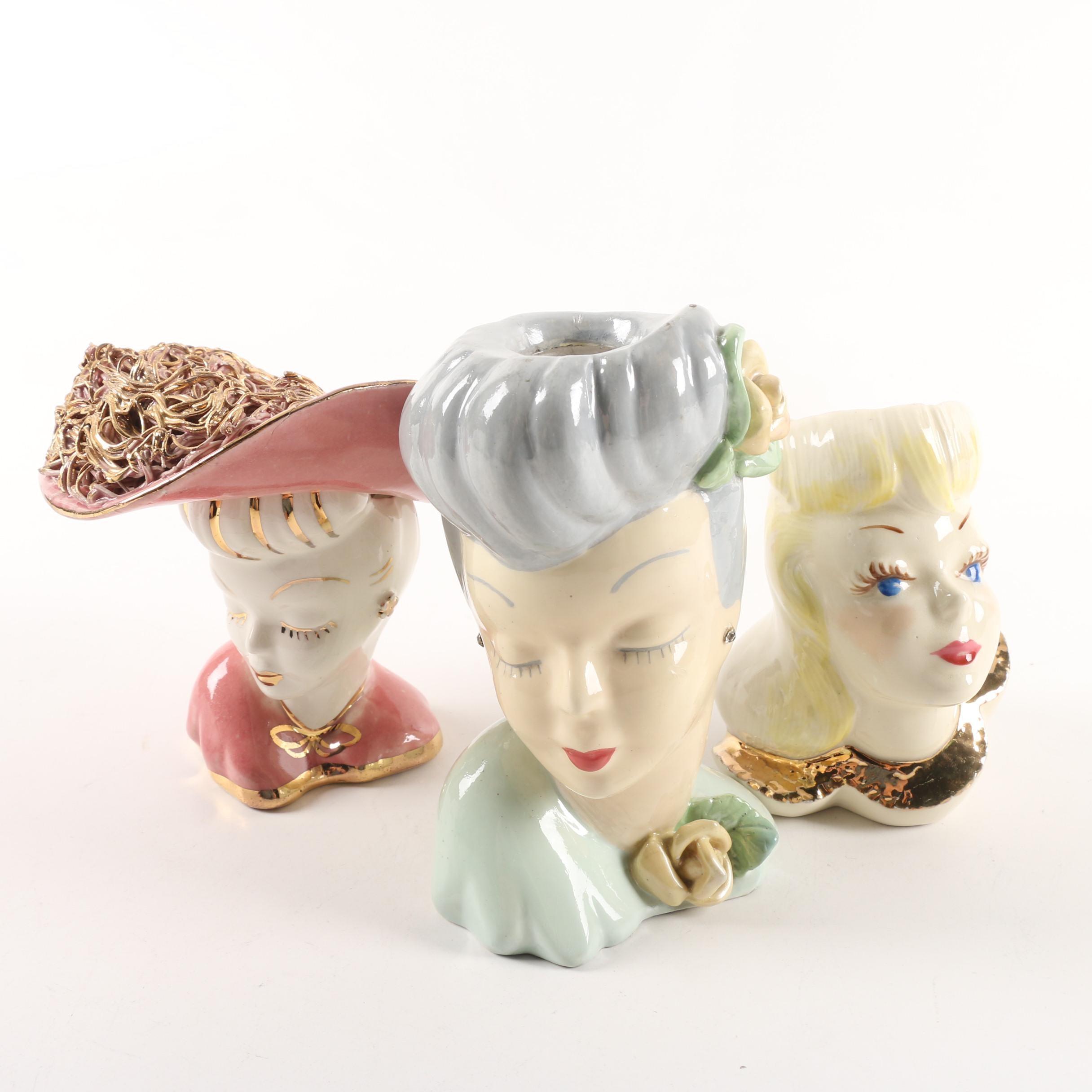Vintage Hand-Painted Ceramic Lady Head Vases