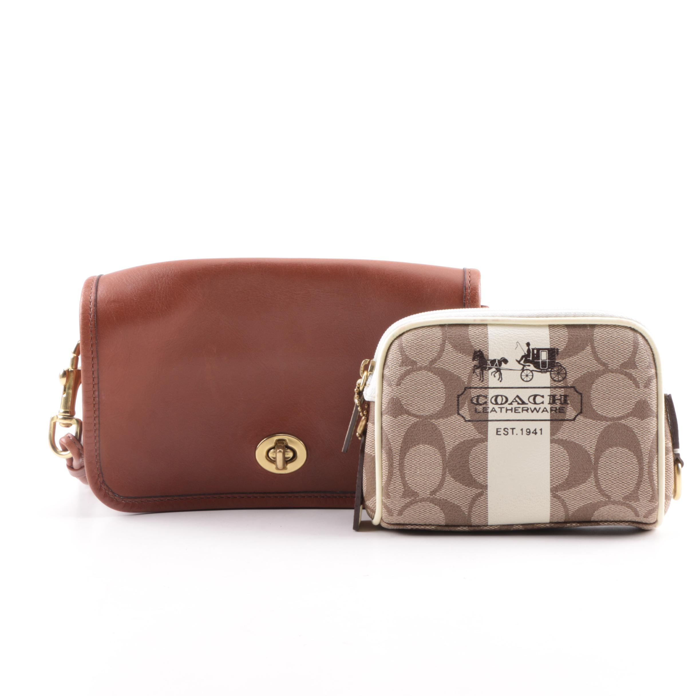 Coach Leather Crossbody Bag and Coated Canvas Pouch