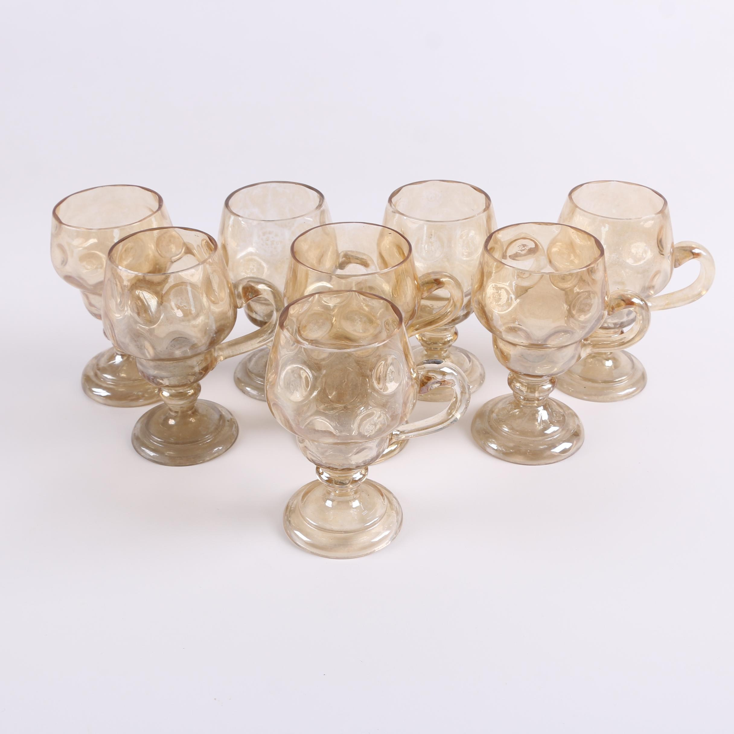 """Vintage Iridescent Blown Glass """"Coin Dot"""" Footed Mugs"""
