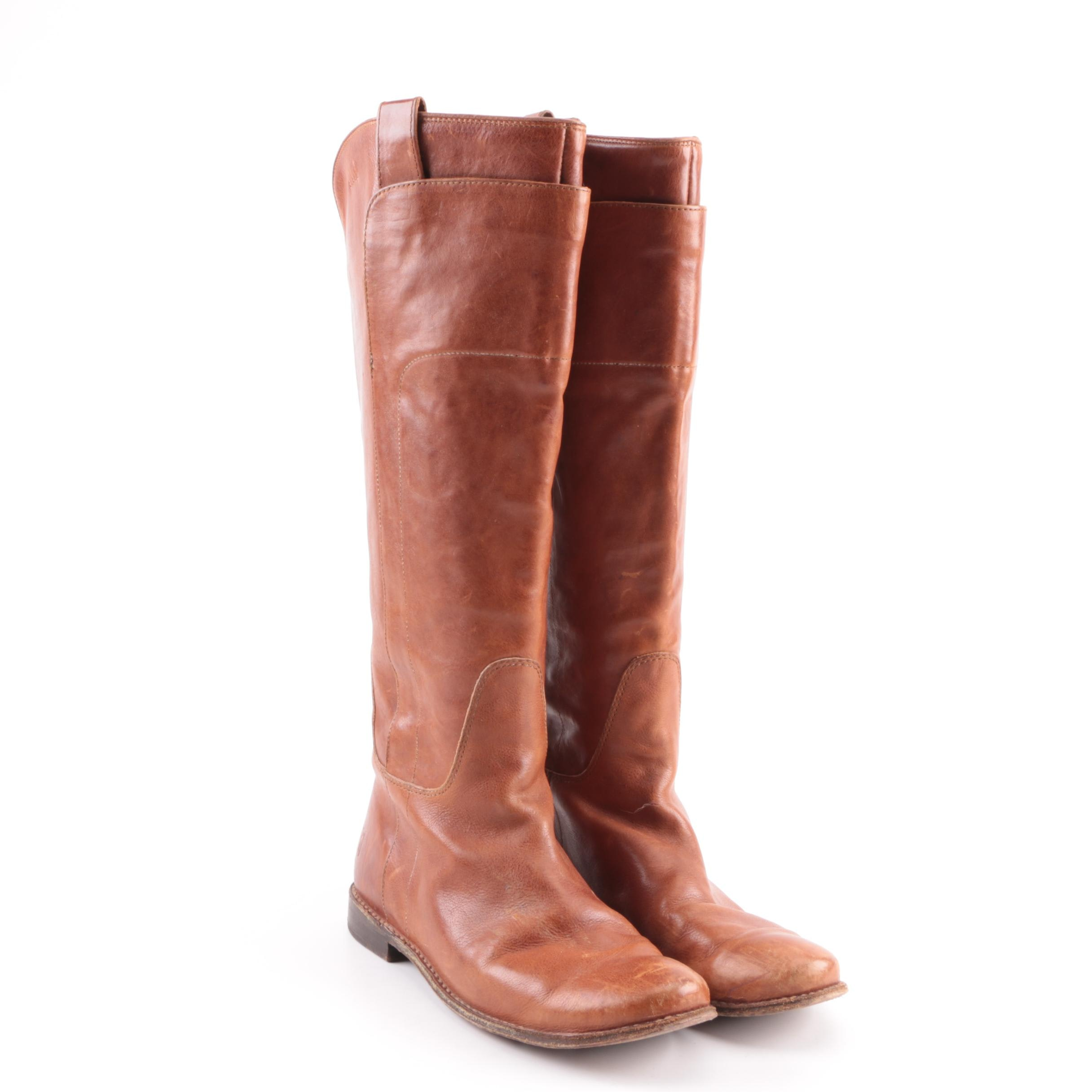 Women's Frye Paige Tan Leather Tall Riding Boot