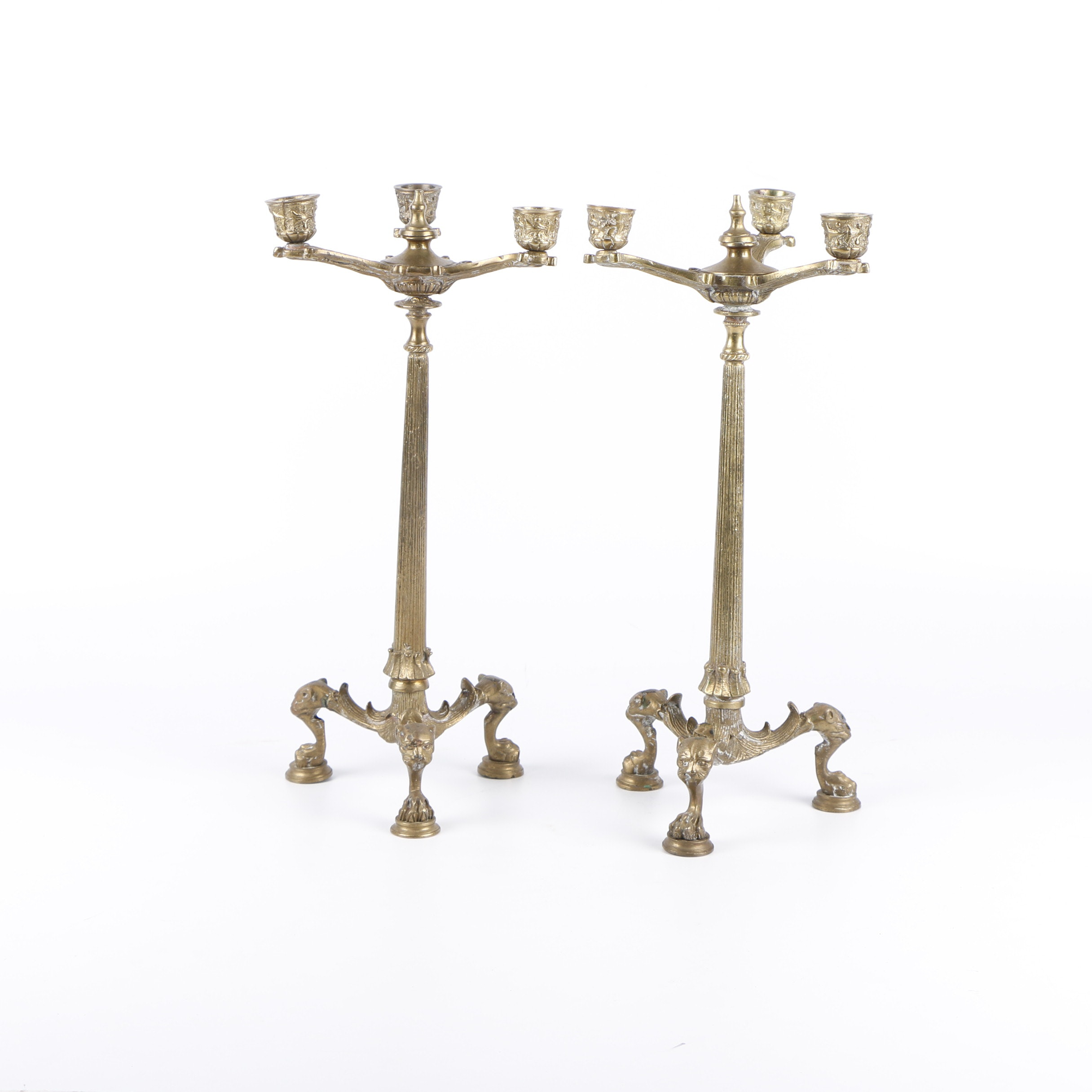 Handmade Indian Brass Candelabra with Figurative Feet