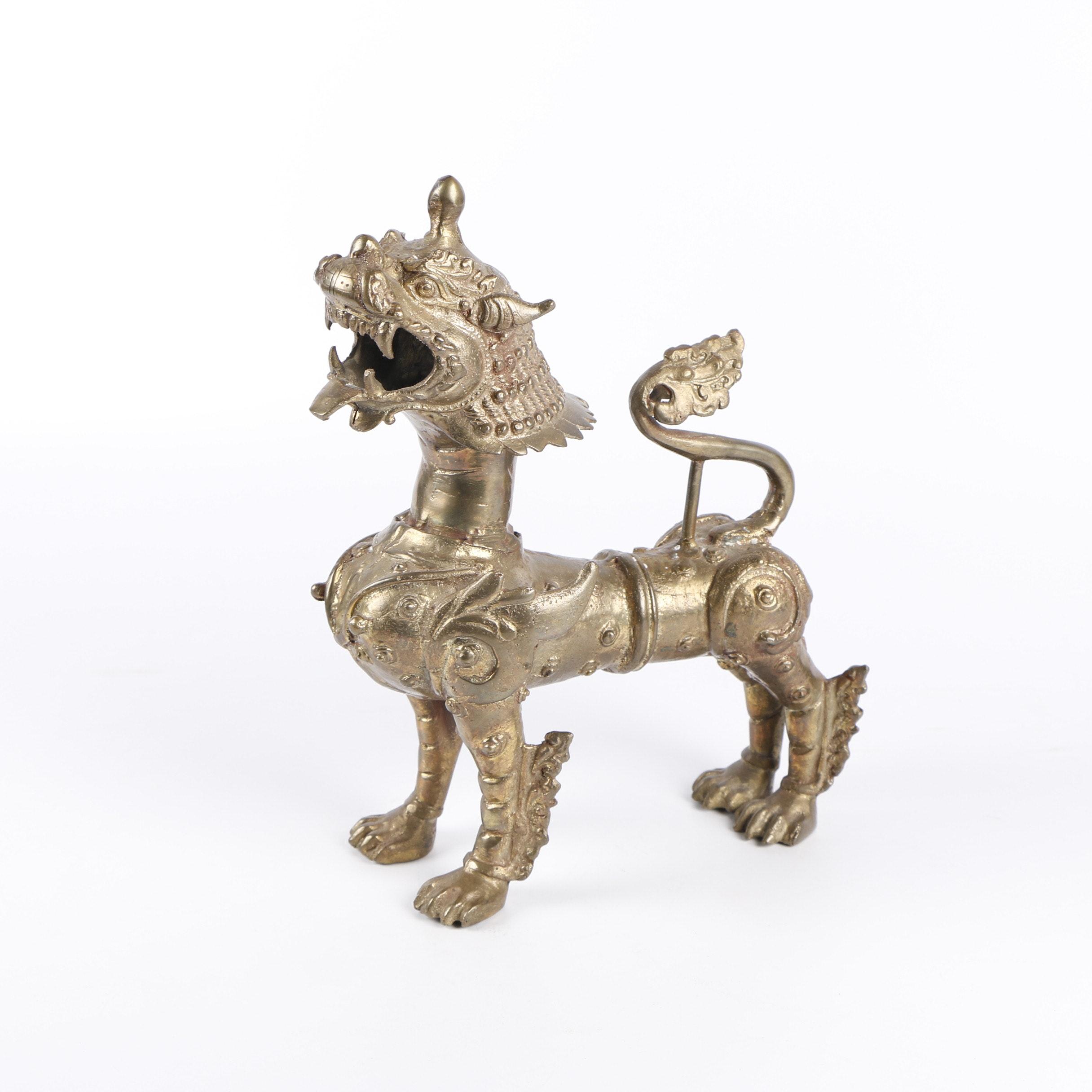 Large Tibetan Style Cast Bronze Tone Guardian Lion