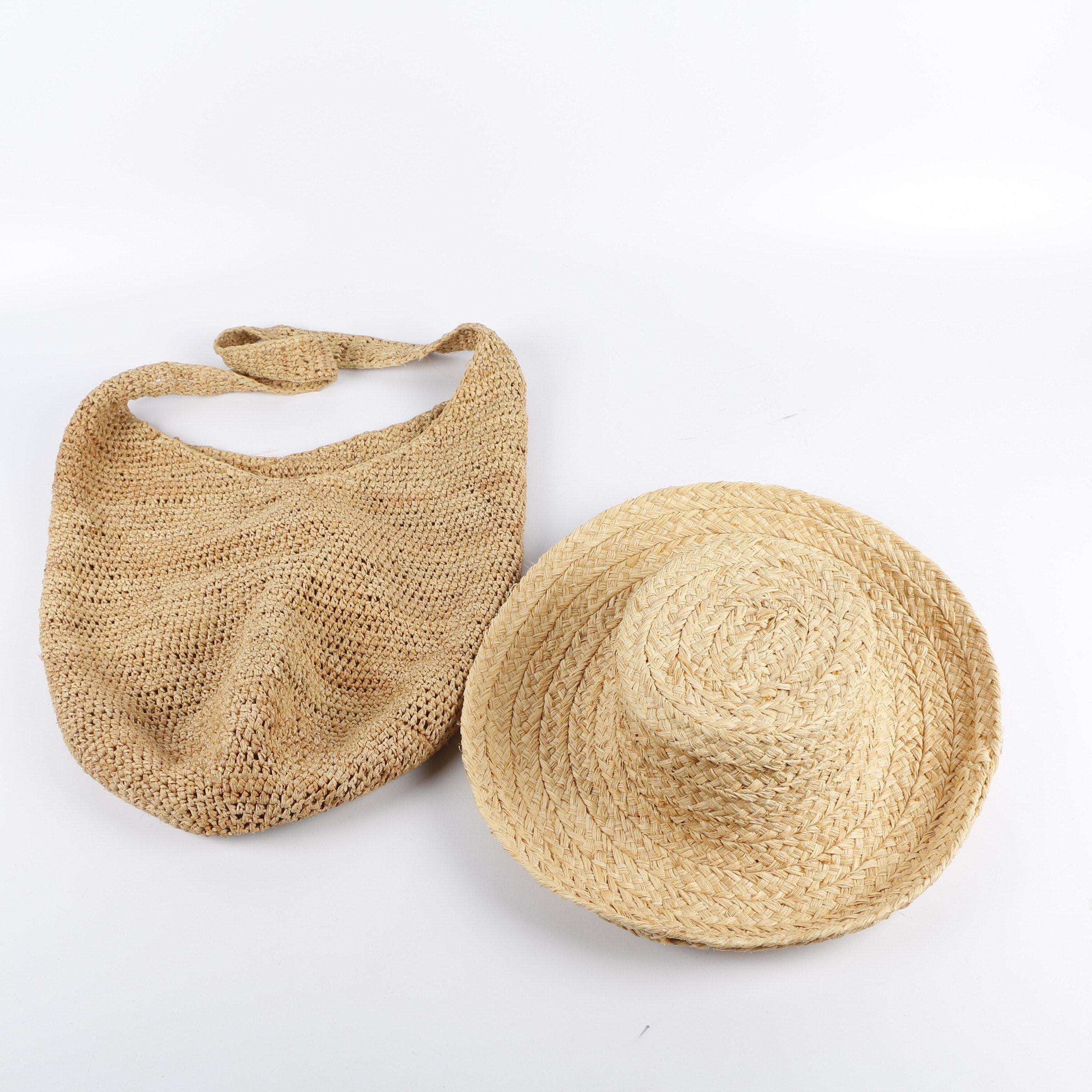 Helen Kaminski Woven Raffia Sun Hat and Handbag, made in Madagascar
