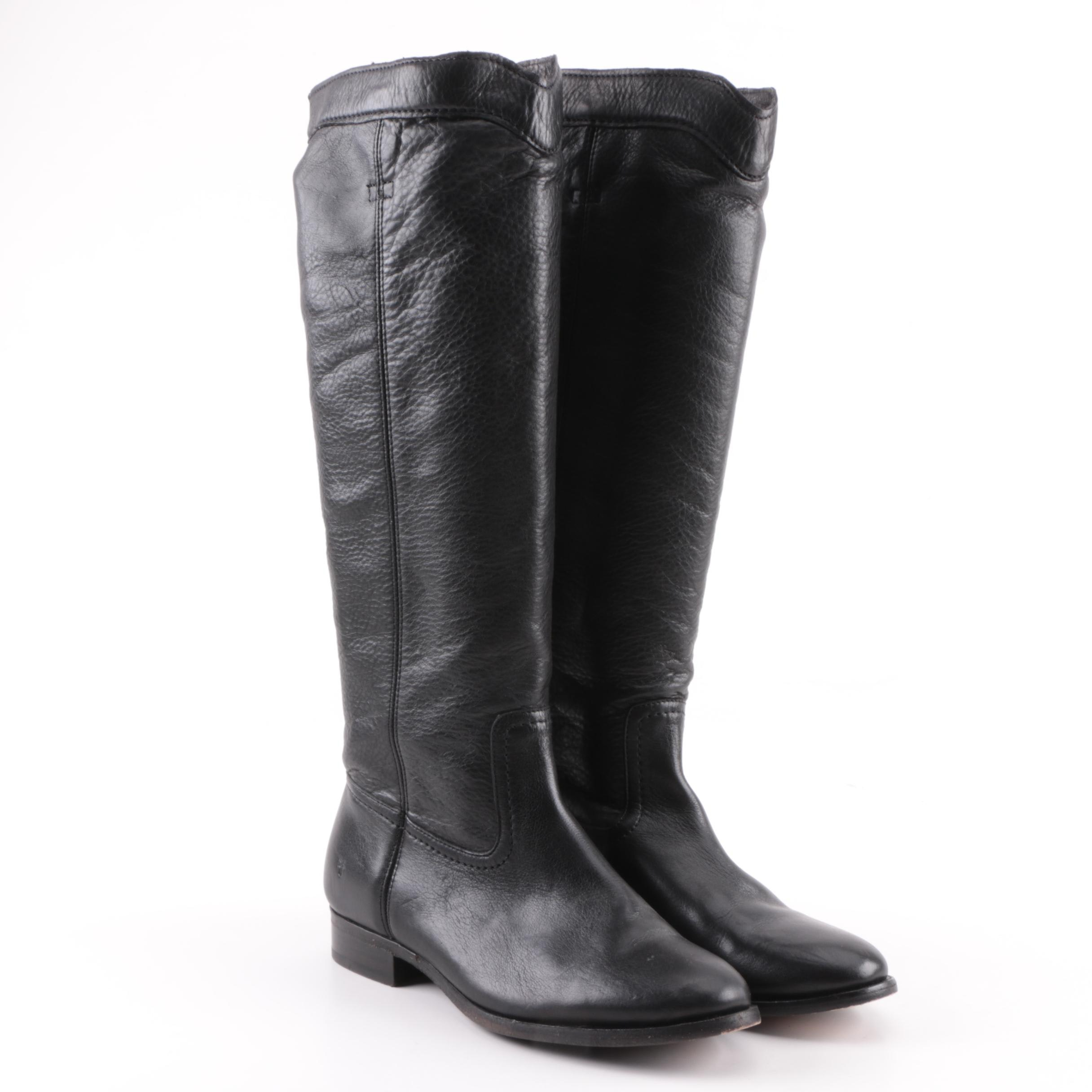 Women's Frye Cara Roper Black Leather Tall Boots