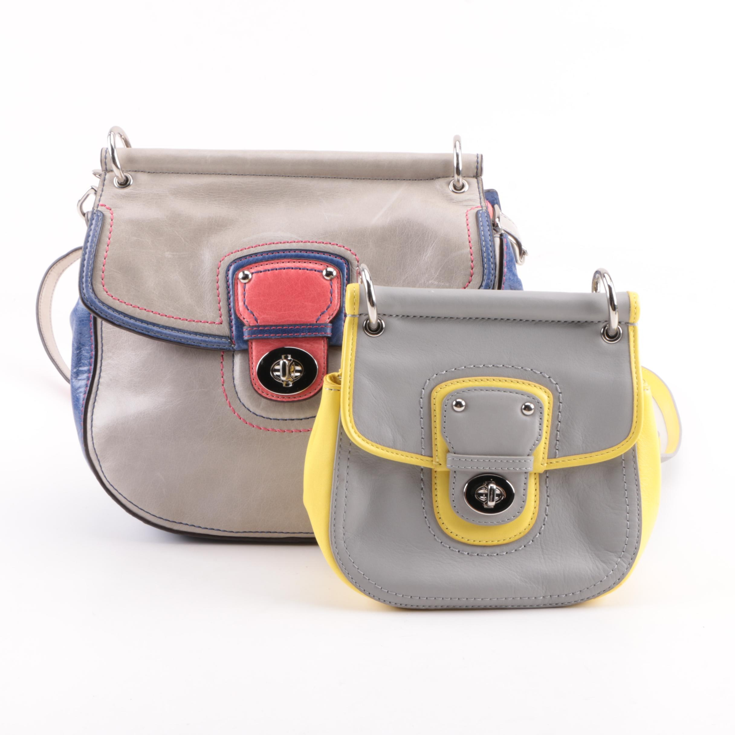 Coach Two-Tone and Tri-Tone Leather Crossbody Front Flap Bags
