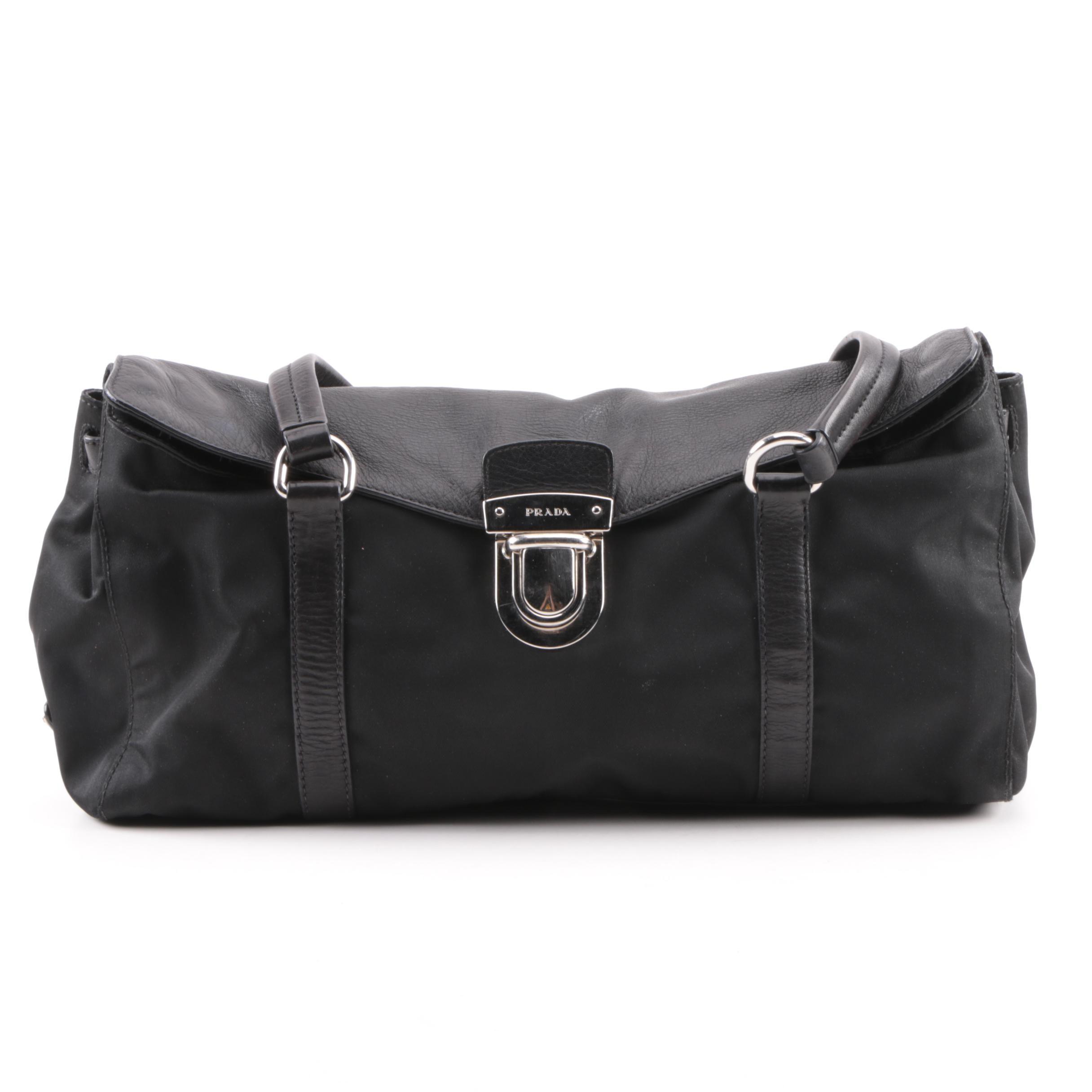 Prada Black Nylon and Leather Baguette Shoulder Bag