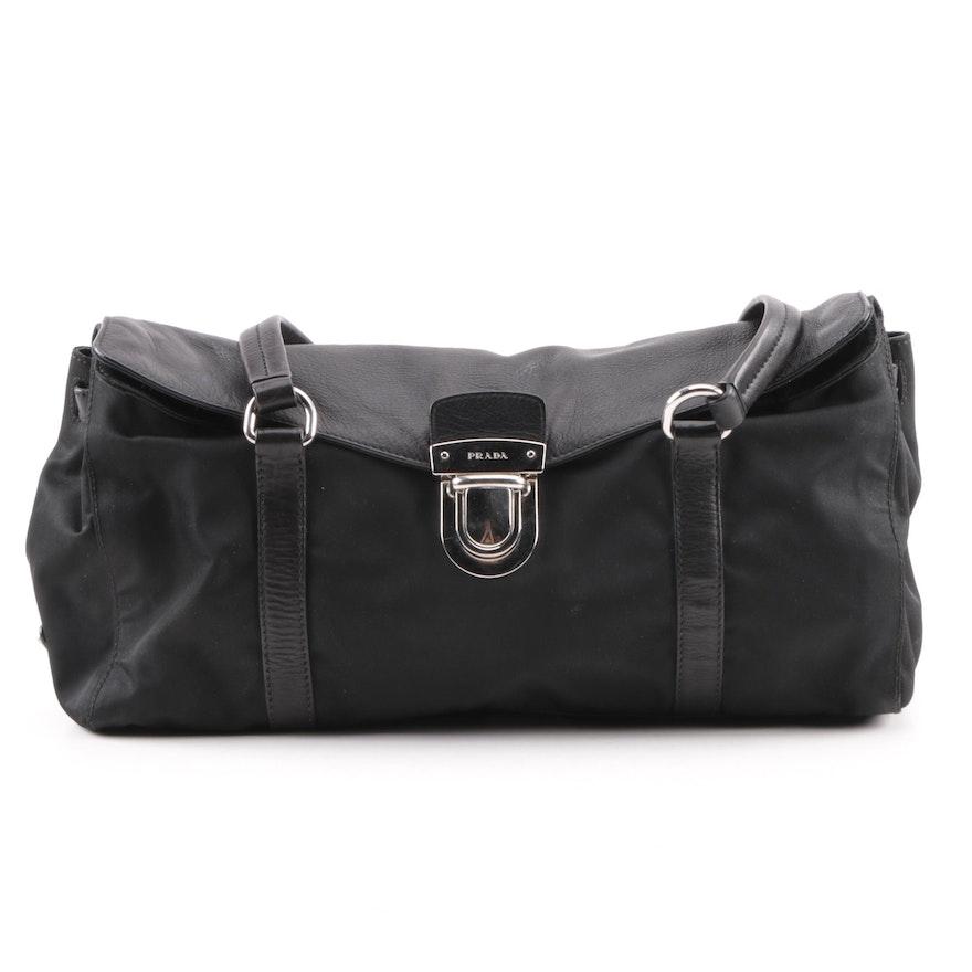 Prada Black Nylon and Leather Baguette Shoulder Bag   EBTH e8c51340eb172