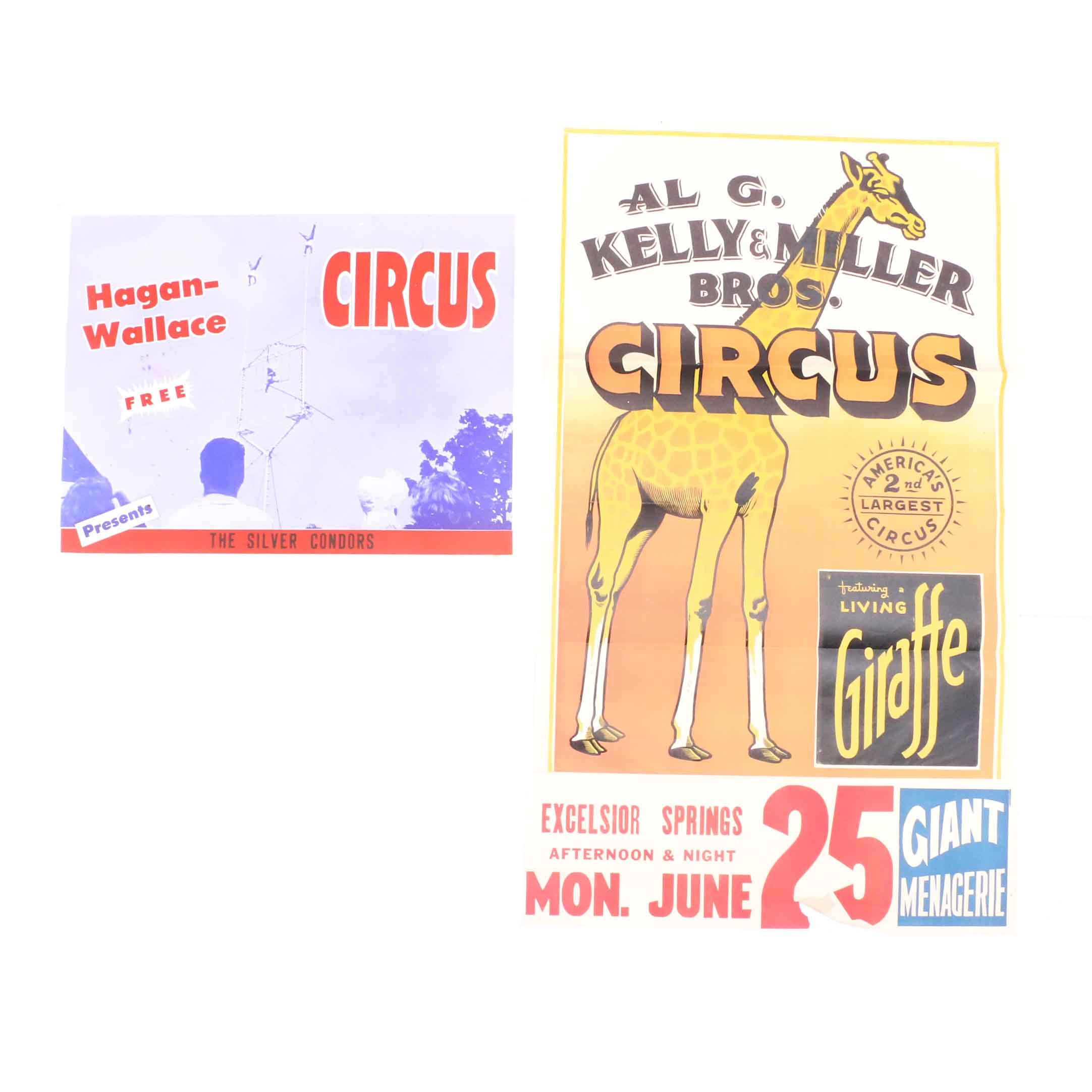 Two Original Early 20th-Century Color Block Relief Circus Posters