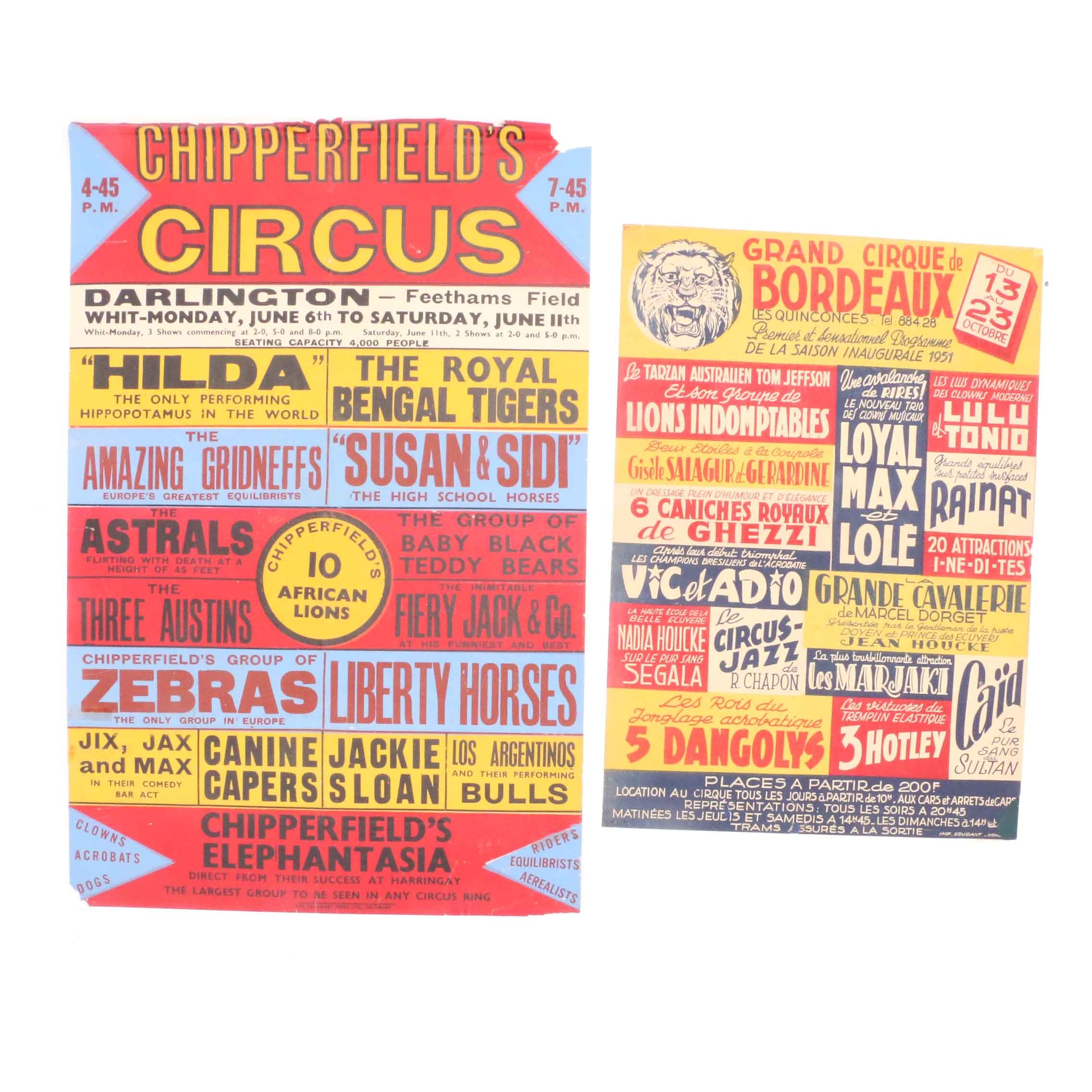 Two Early 20th-Century Color Block Relief-Printed Circus Posters