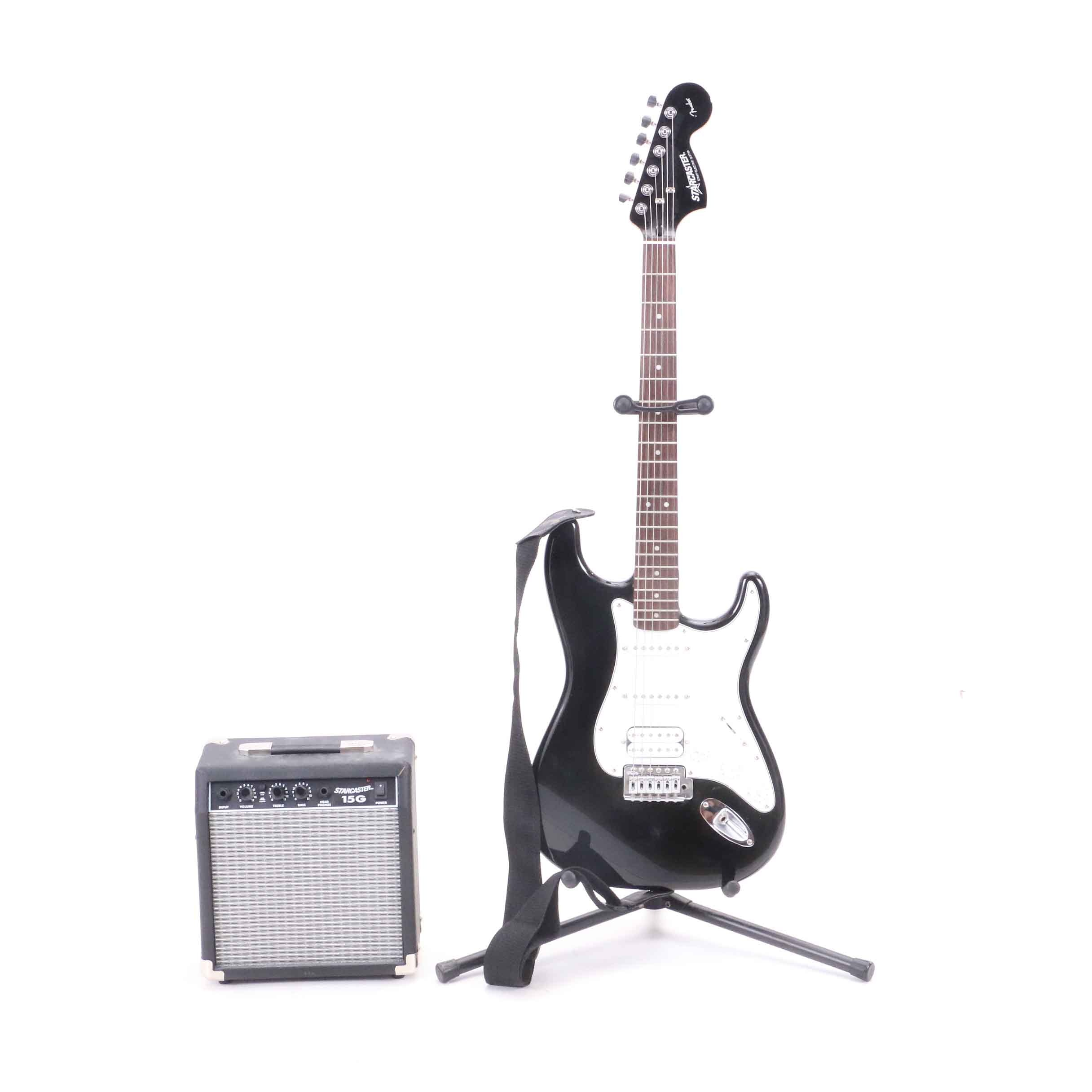 Starcaster Electric Guitar by Fender, Stand And Amplifier