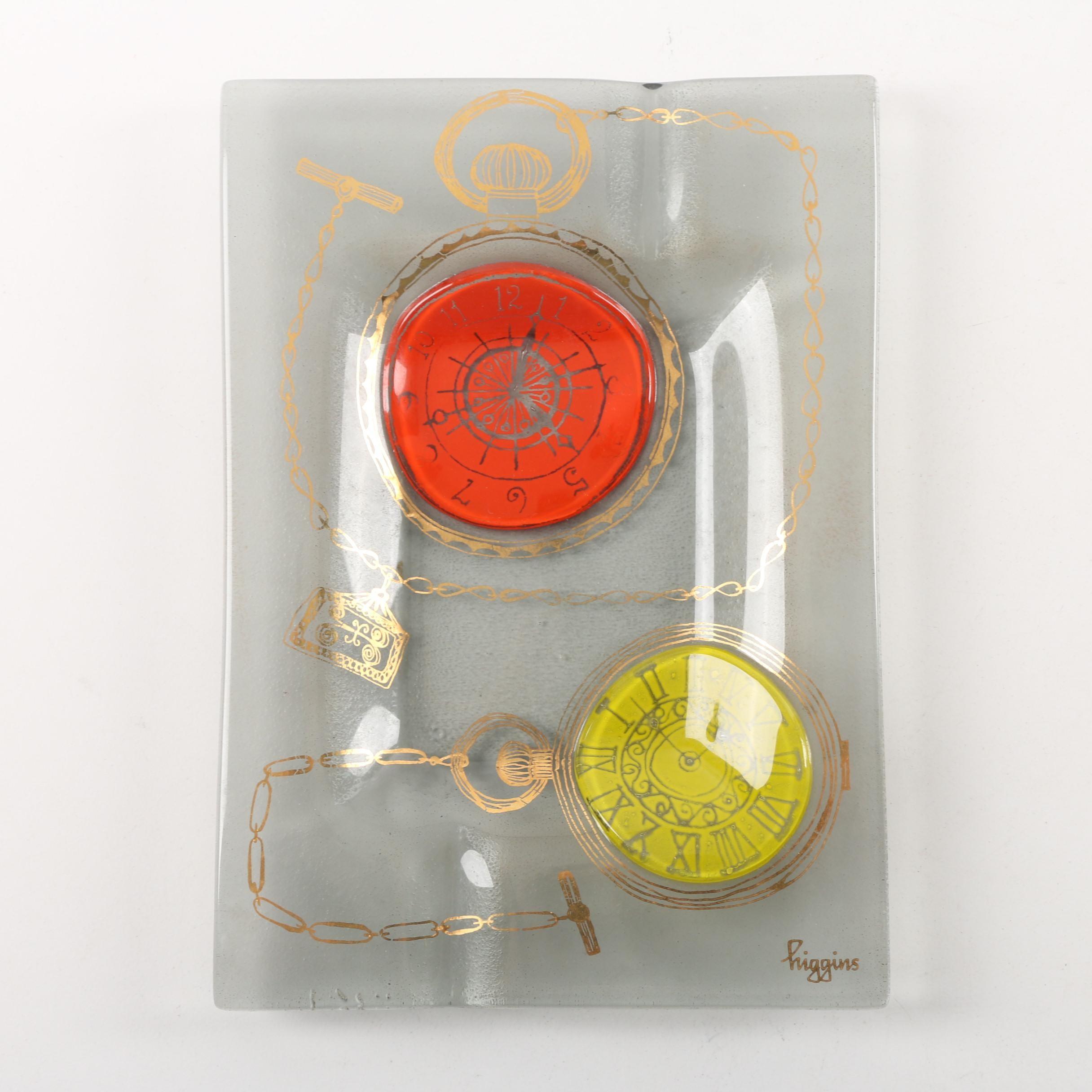 "Mid Century Modern Higgins Fused Glass ""Pocket Watch"" Ash Receiver"