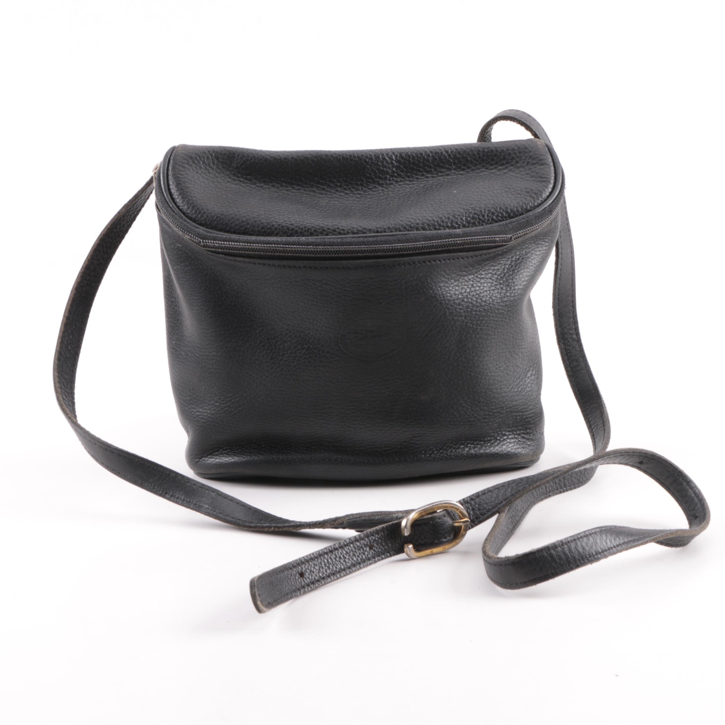 Vintage Longchamp Black Pebbled Leather Bucket Crossbody Bag