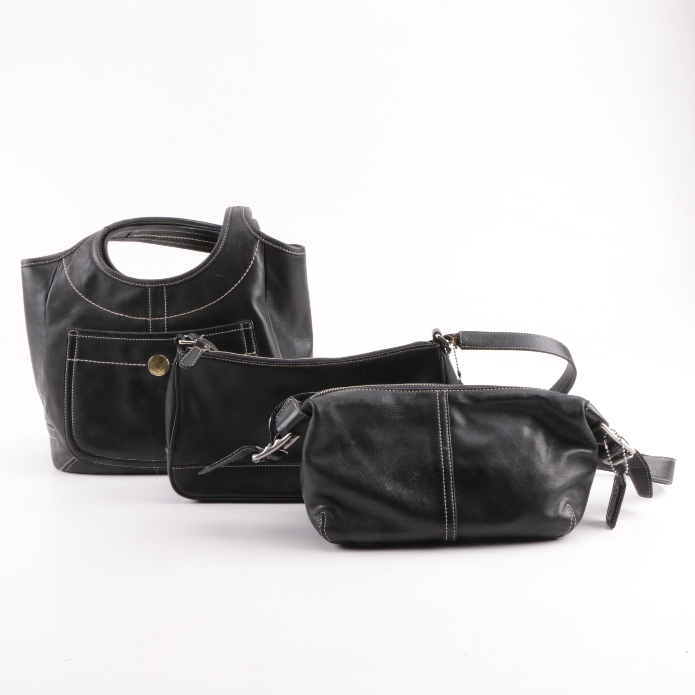 Coach Ergo Legacy Black Leather Hobo Bag with Others