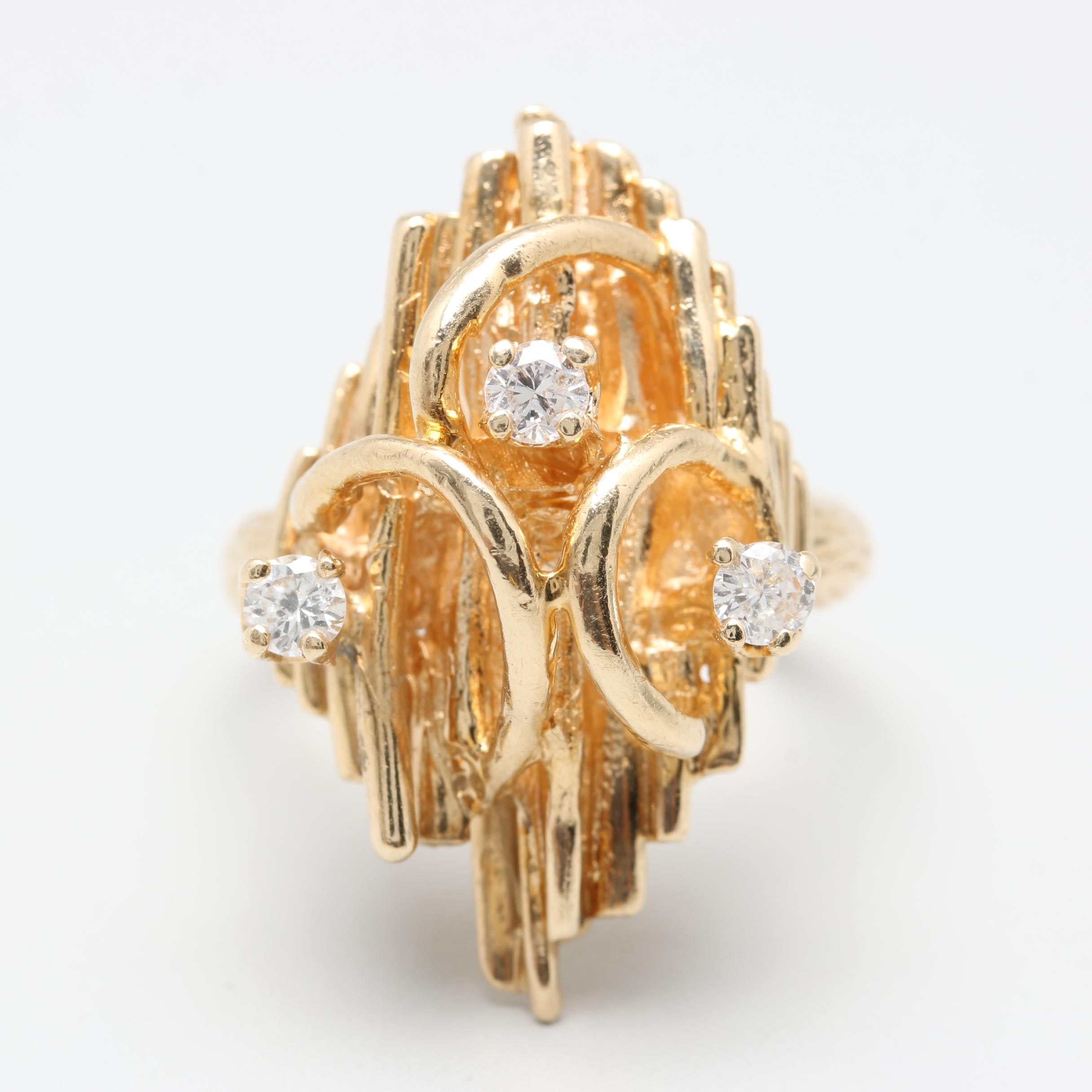 14K Yellow Gold Diamond Abstract Ring