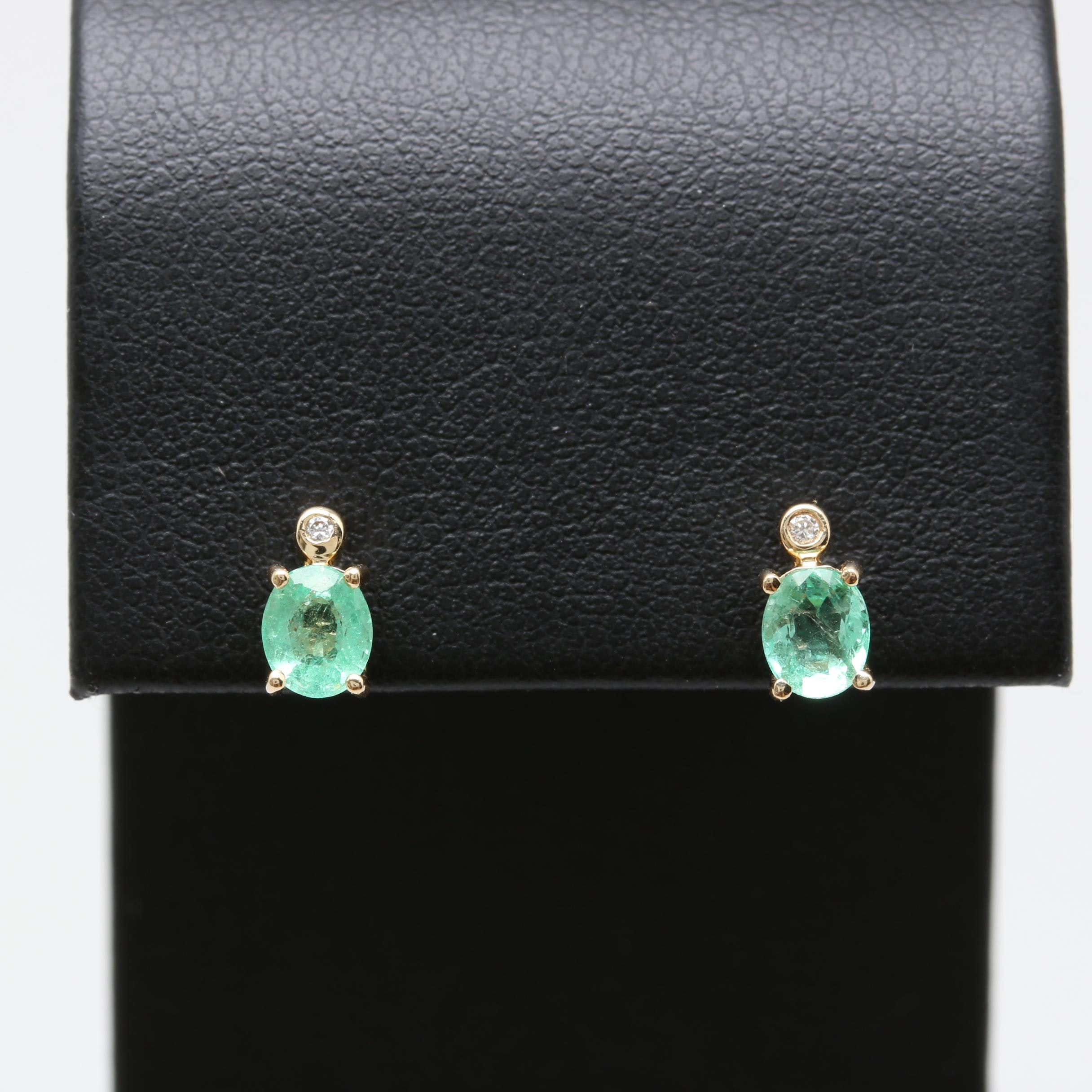 14K Yellow Gold Emerald and Diamond Post Earrings