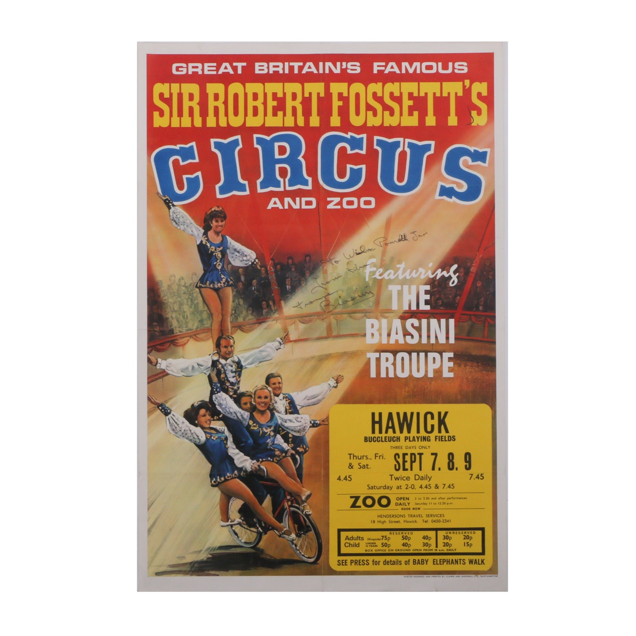 "Original Circa 1980s Circus Poster ""Sir Robert Fossett's Circus and Zoo"""