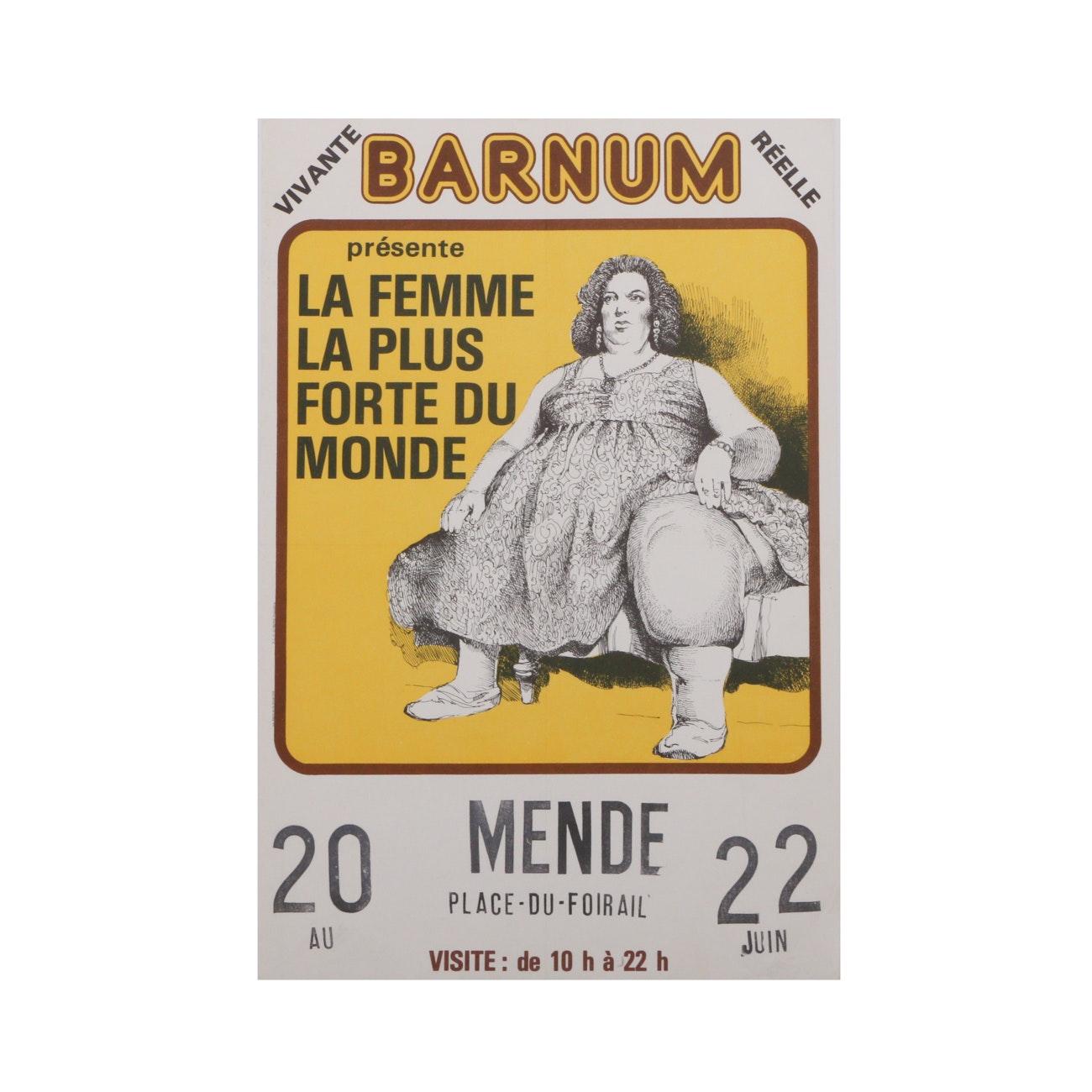 "Original Mid-Century French Circus Poster ""La Femme la Plus Forte du Monde"""