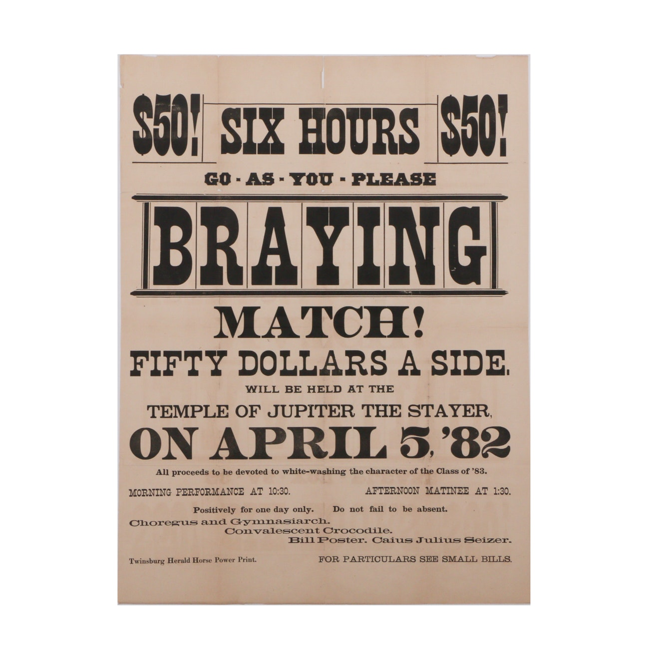 Original 1882 Lithographic Braying Match Poster