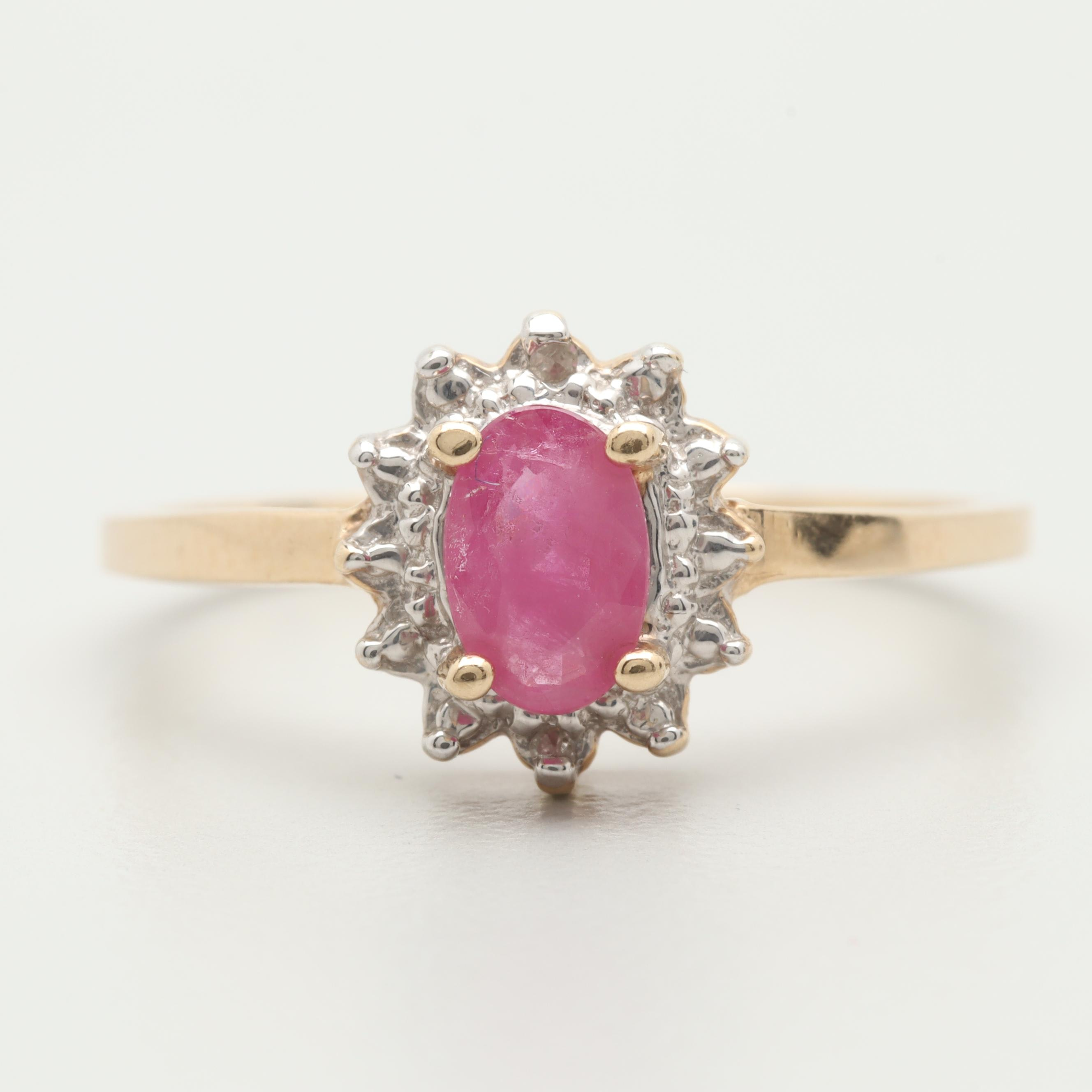10K Yellow and White Gold Ruby and Diamond Ring