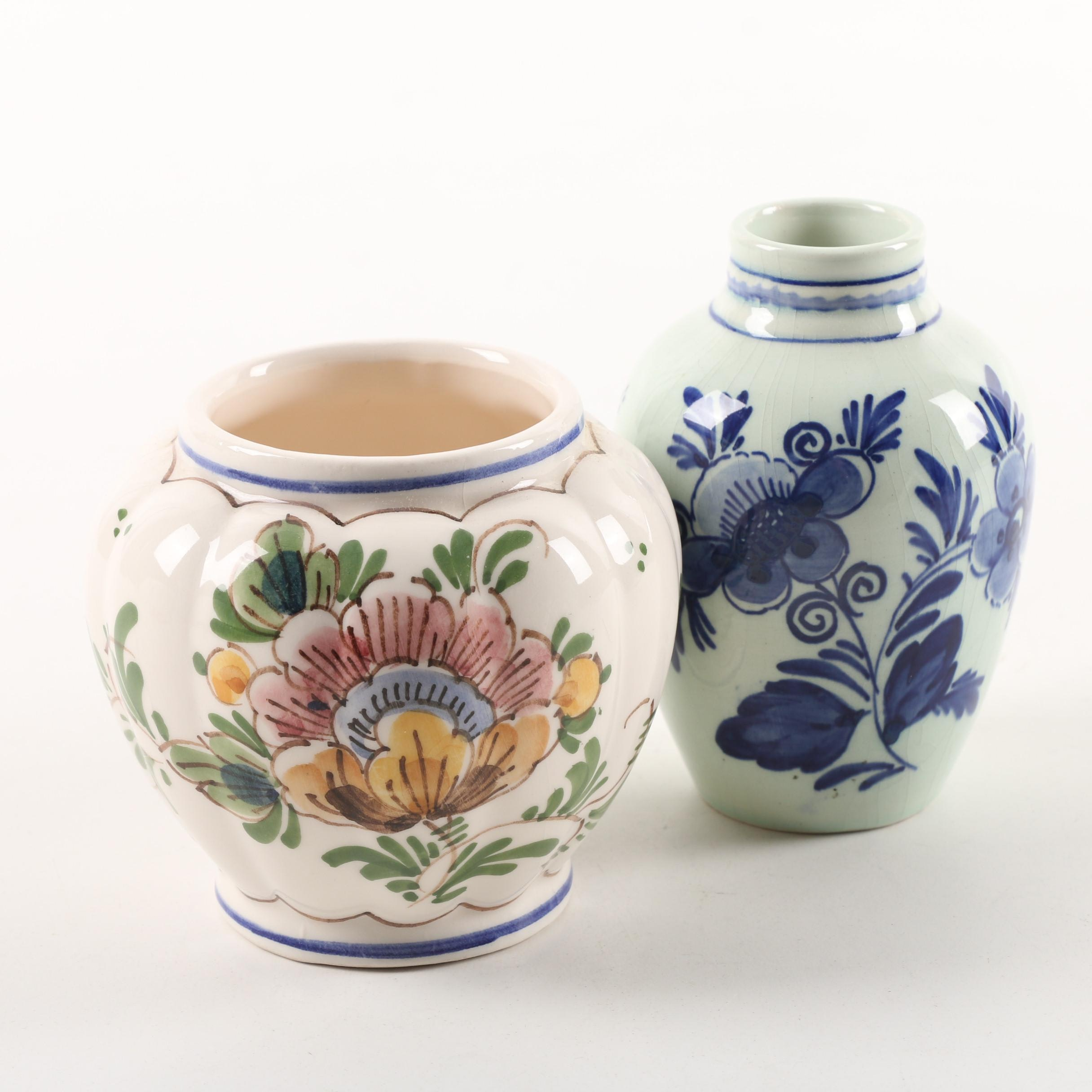 Vintage Hand-Painted Delft Ceramic Vases