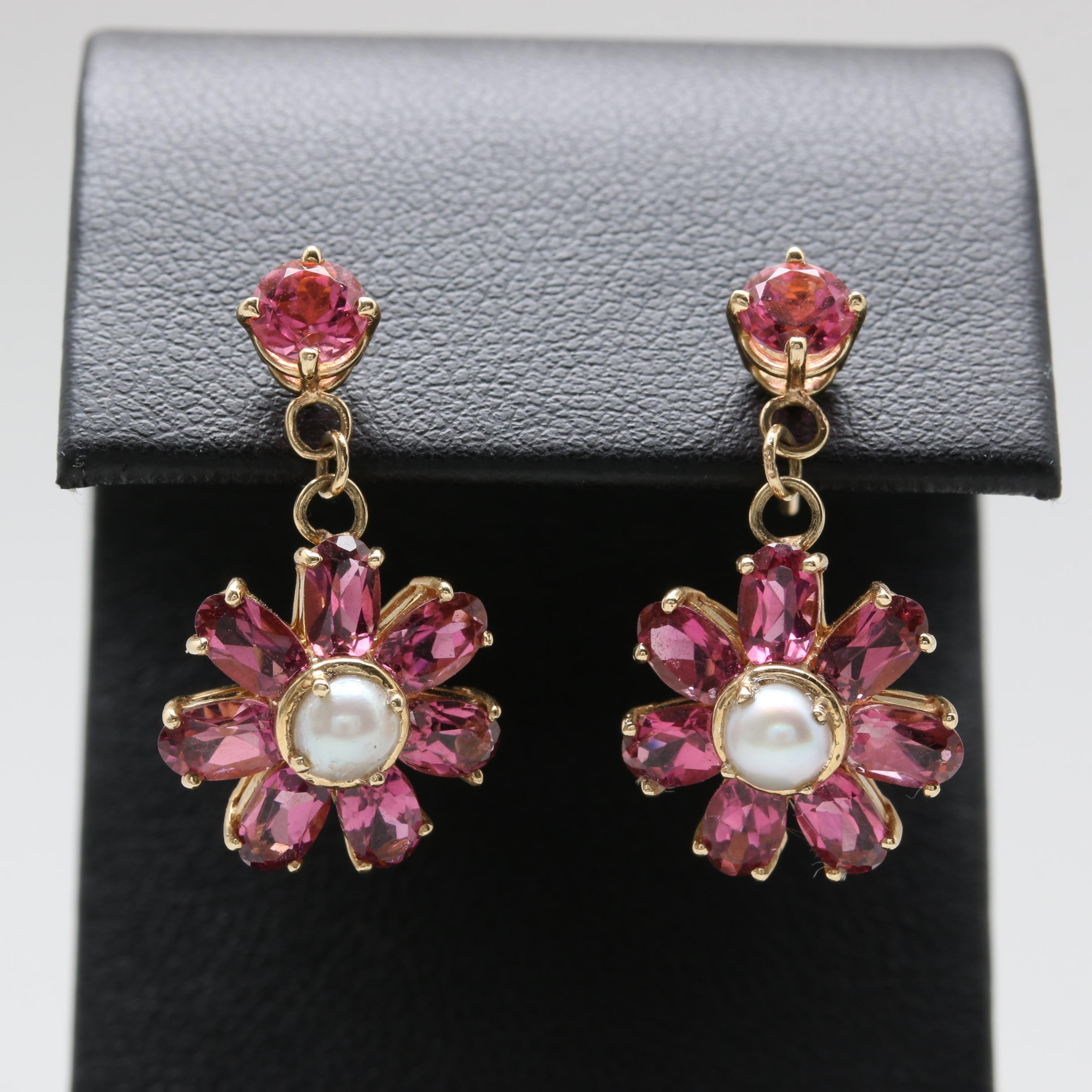 14K Yellow Gold Cultured Pearl and Pink Tourmaline Floral Drop Earrings