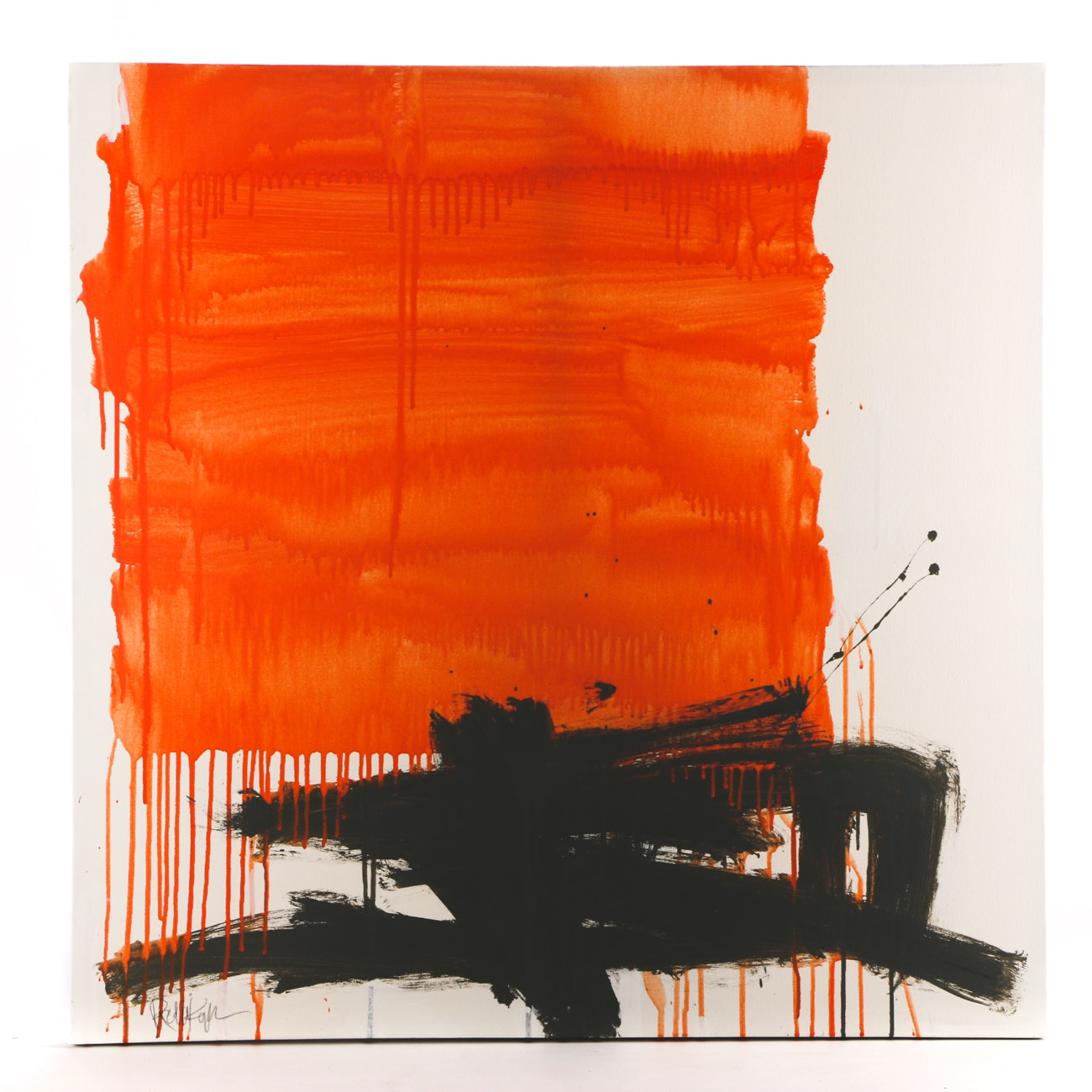 """Robbie Kemper Acrylic Painting on Canvas """"Peach Patch Gray Lines"""""""
