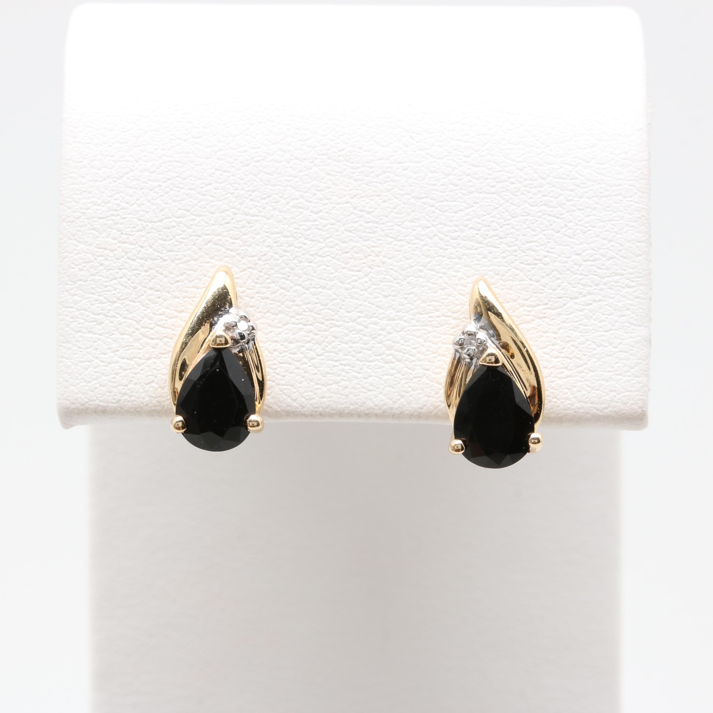 Alwand Vahan 14K Yellow Gold Black Onyx and Diamond Post Earrings