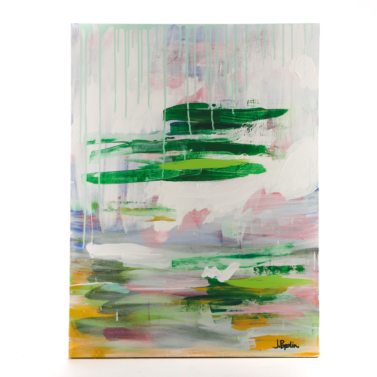 """J. Popolin Acrylic Painting """"Green Stripes with Drips"""""""