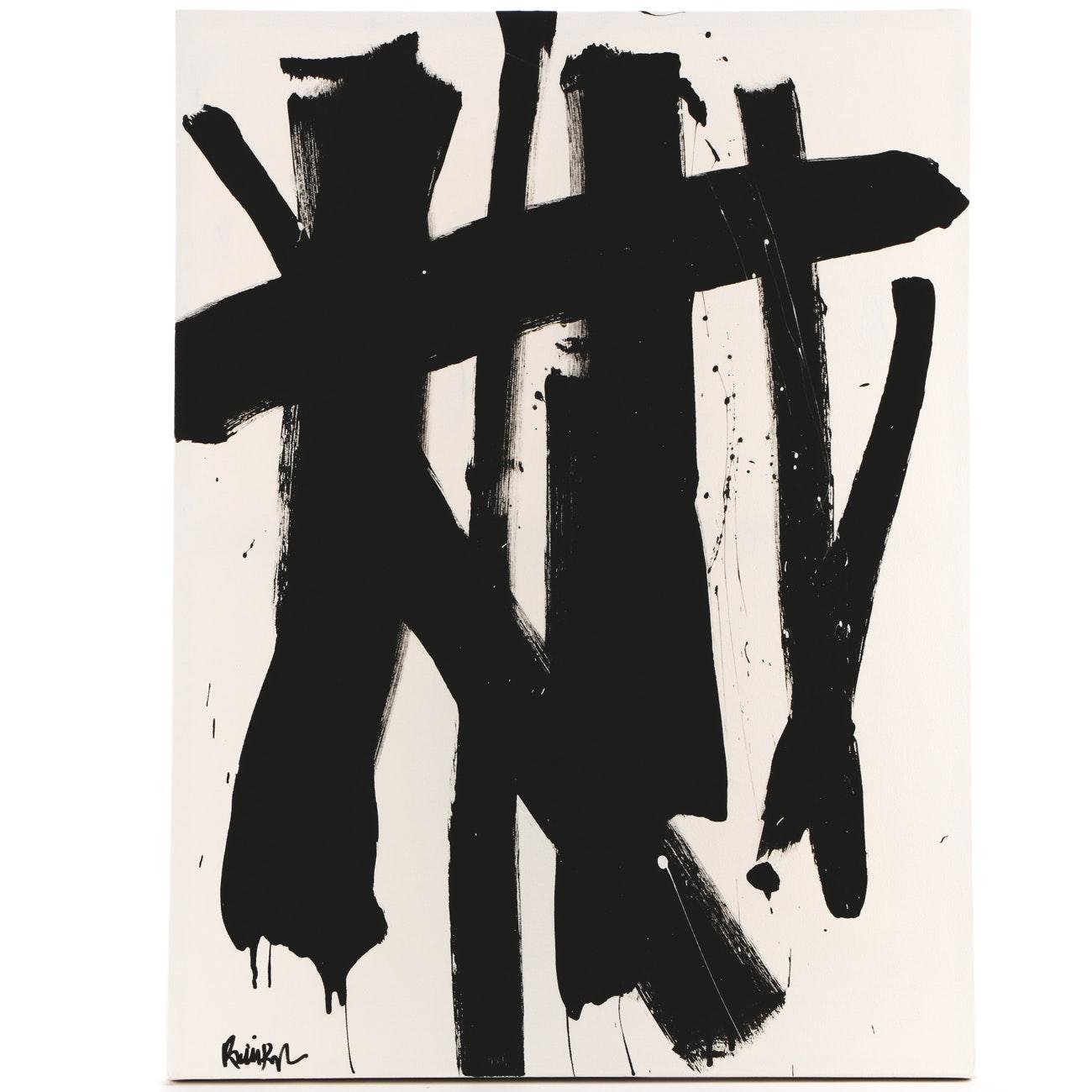 "Robbie Kemper Acrylic Painting ""Several Black Lines"""