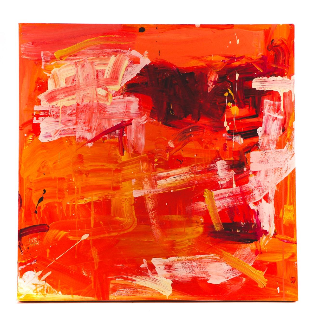"Robbie Kemper Acrylic Painting on Canvas ""Orange Yellow Magenta"""