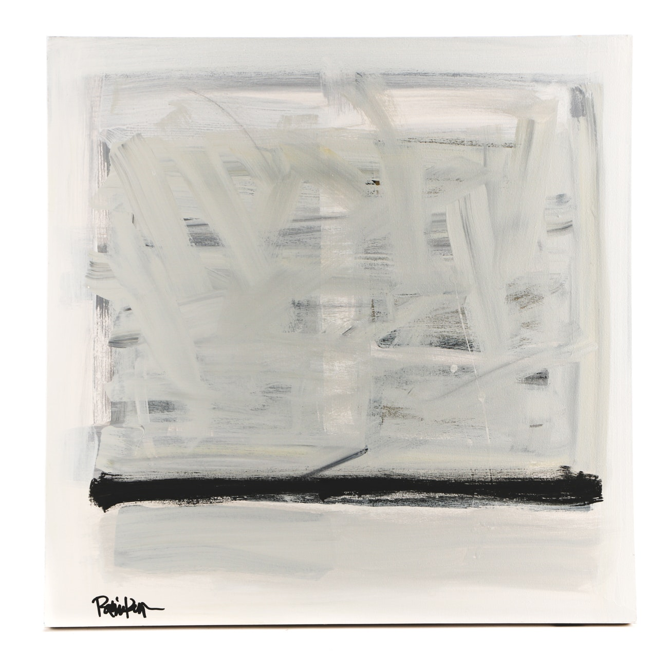 "Robbie Kemper Acrylic Painting ""Gray Square Black Stripe"""