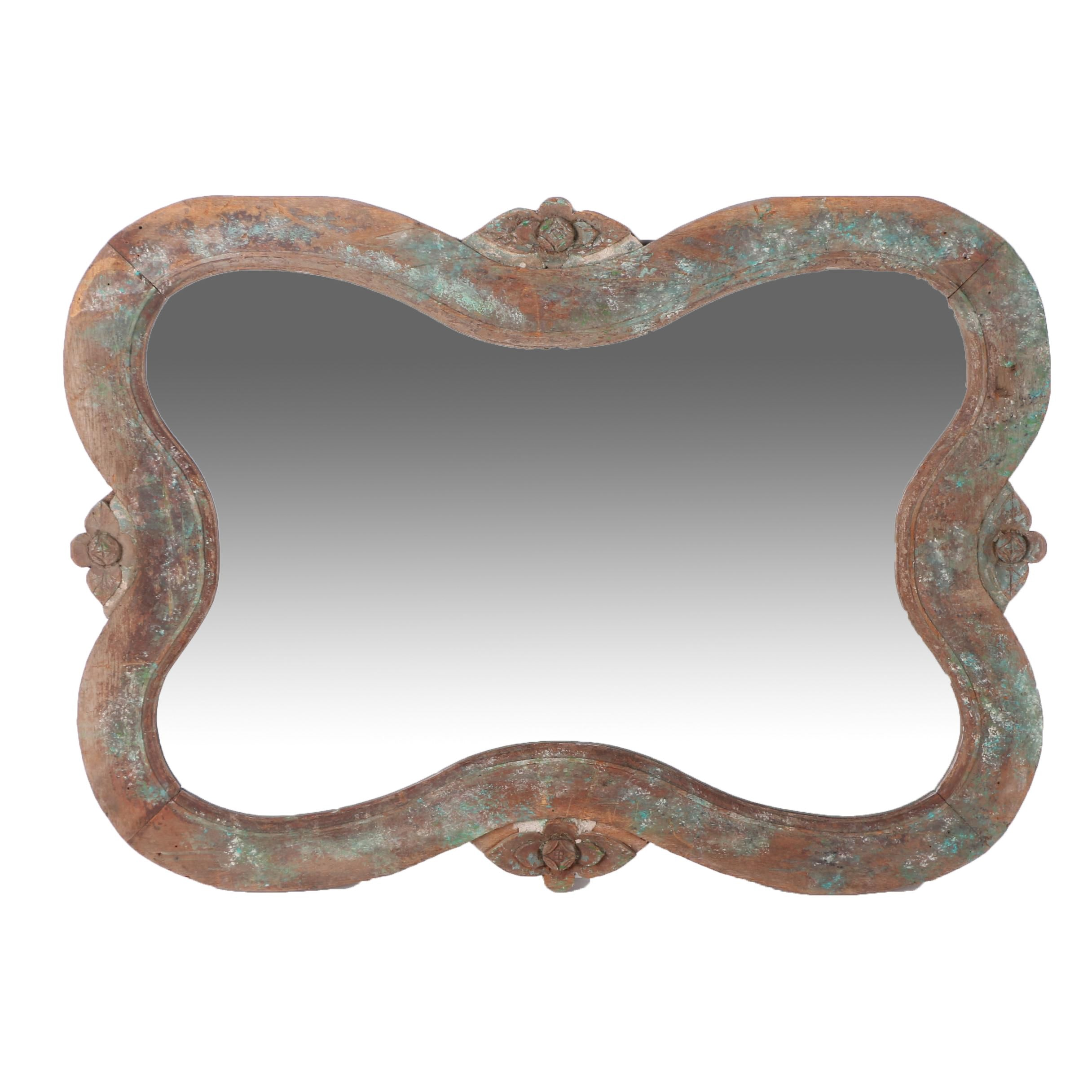 Large Wall Mirror with Distressed Wooden Frame
