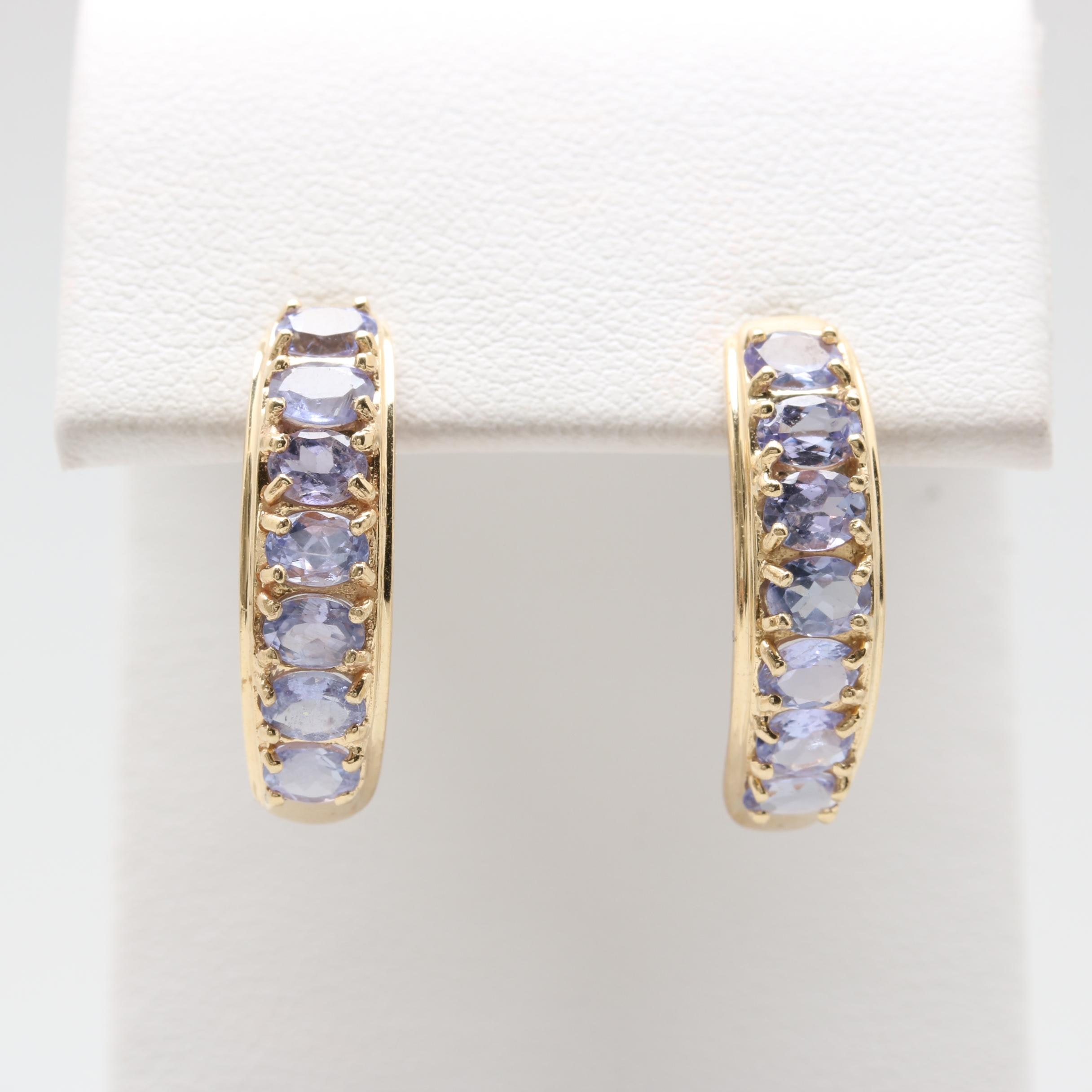 14K Yellow Gold Tanzanite C-Hoop Earrings