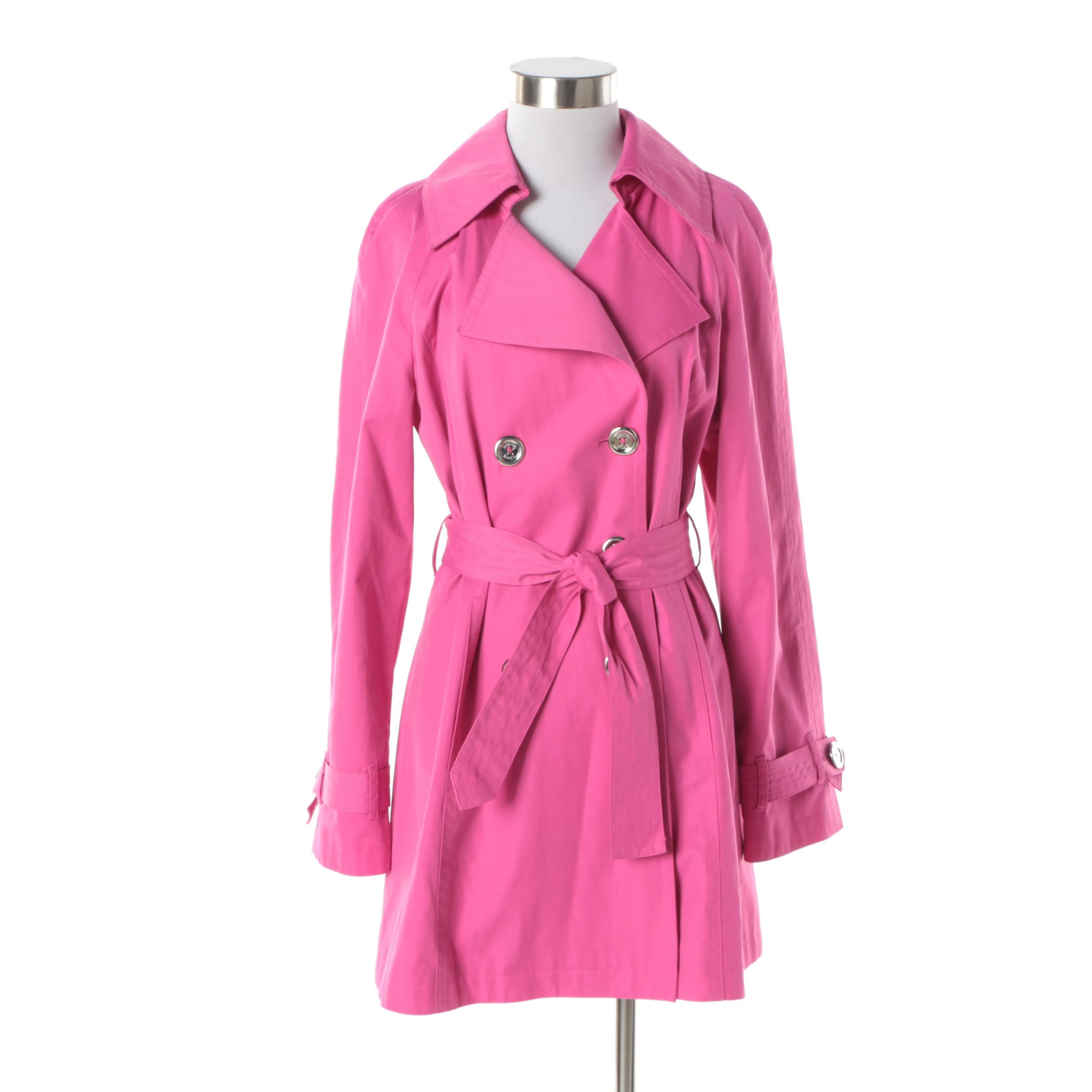 MICHAEL Michael Kors Hot Pink Double-Breasted Trench Coat